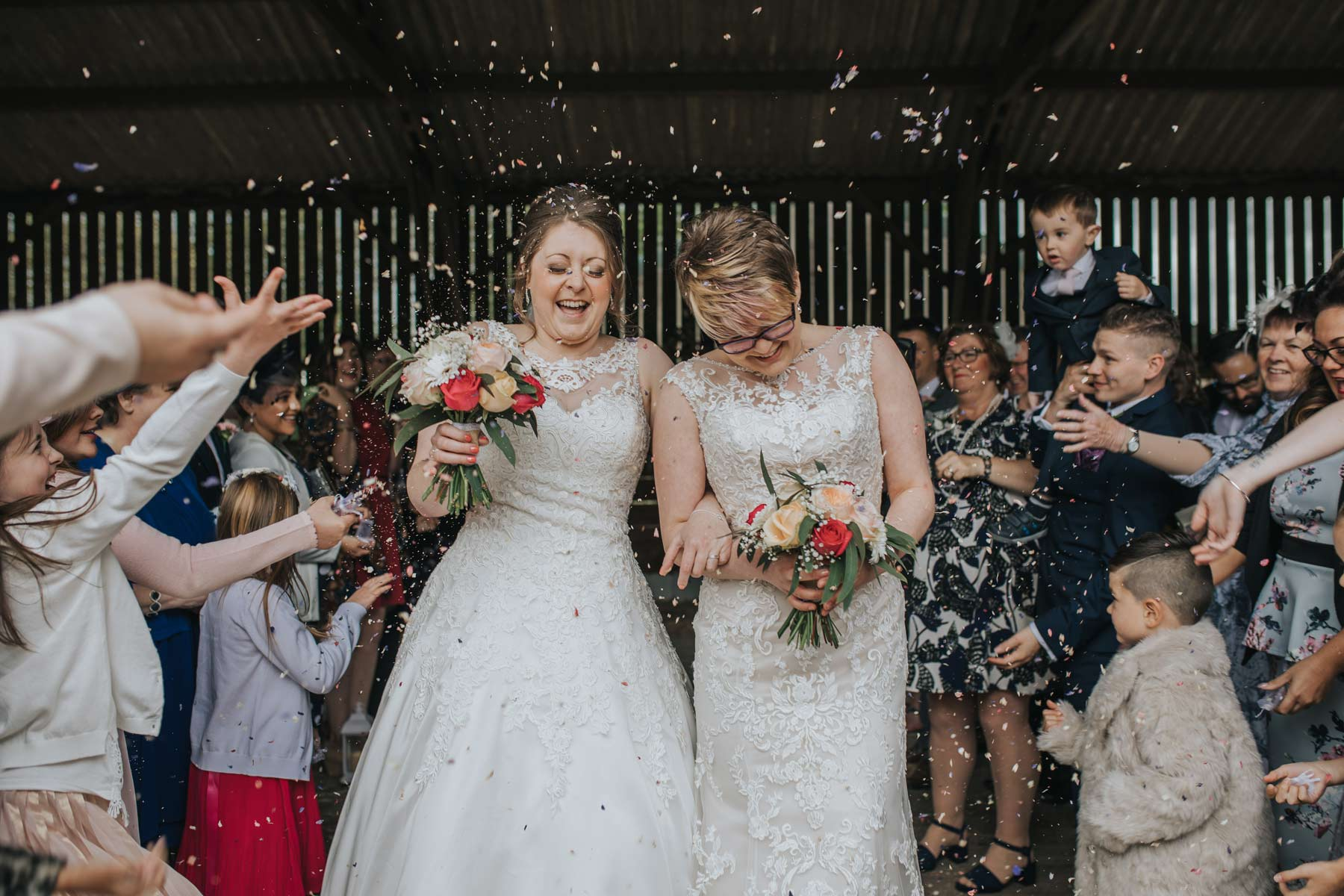Woodland Valley Farm Confetti Shot Wedding Photography Cornwall