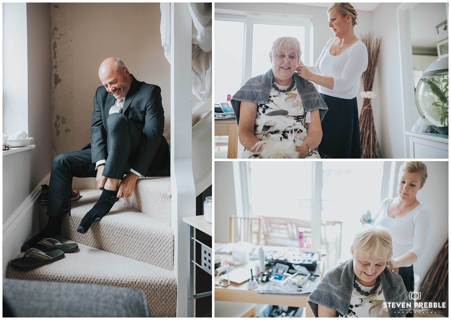 Parents of bride getting ready on day of wedding