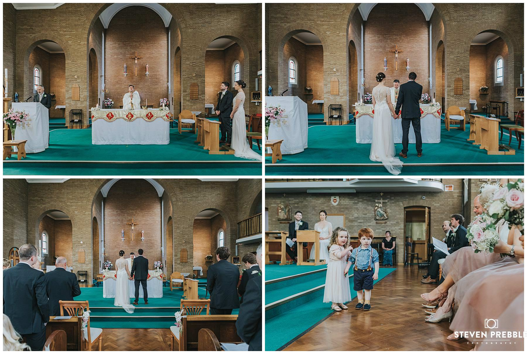 Bride and groom at alter of church