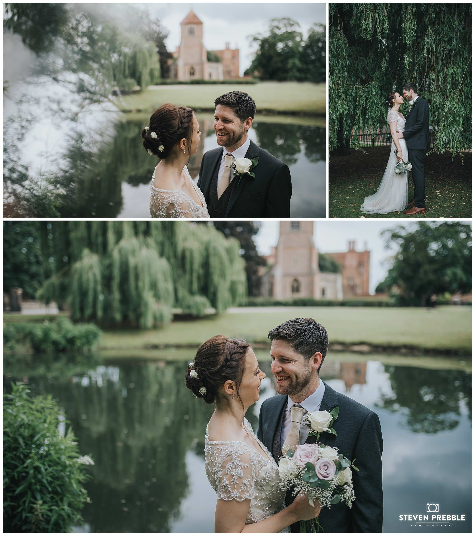 Wedding couple pose at Mapledurham estate reading