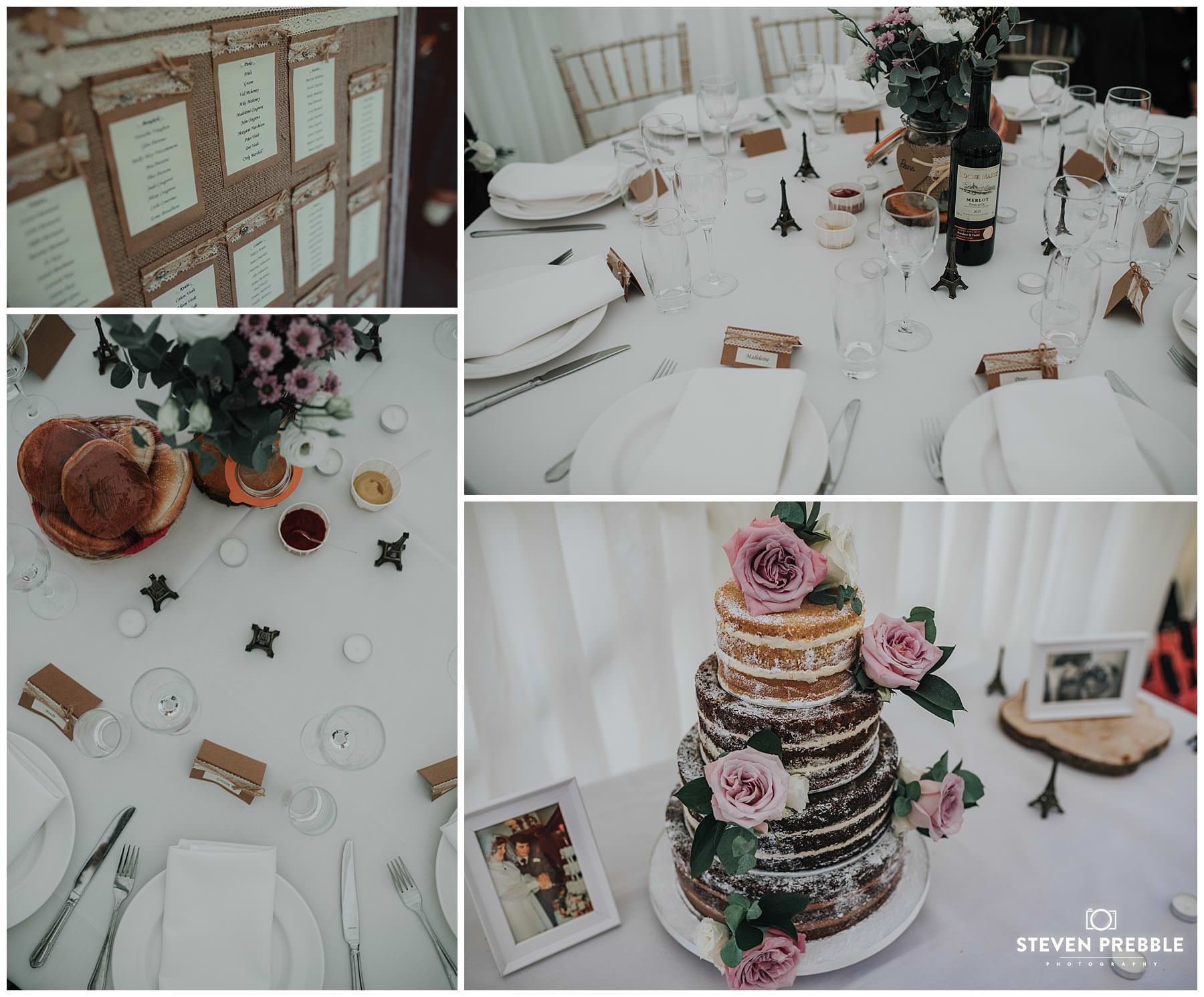Detailed wedding photography of table settings