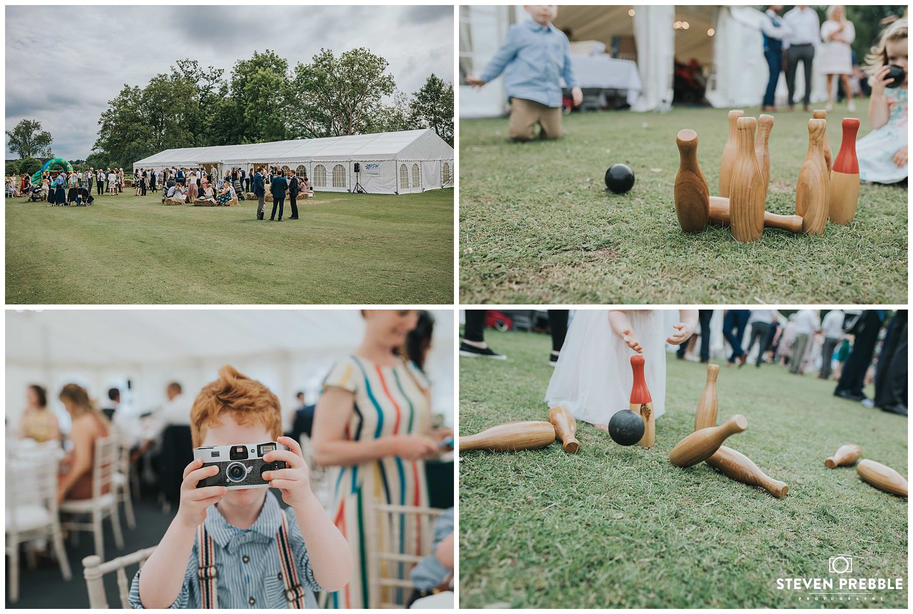 outdoor bowling skittles at wedding on lawn