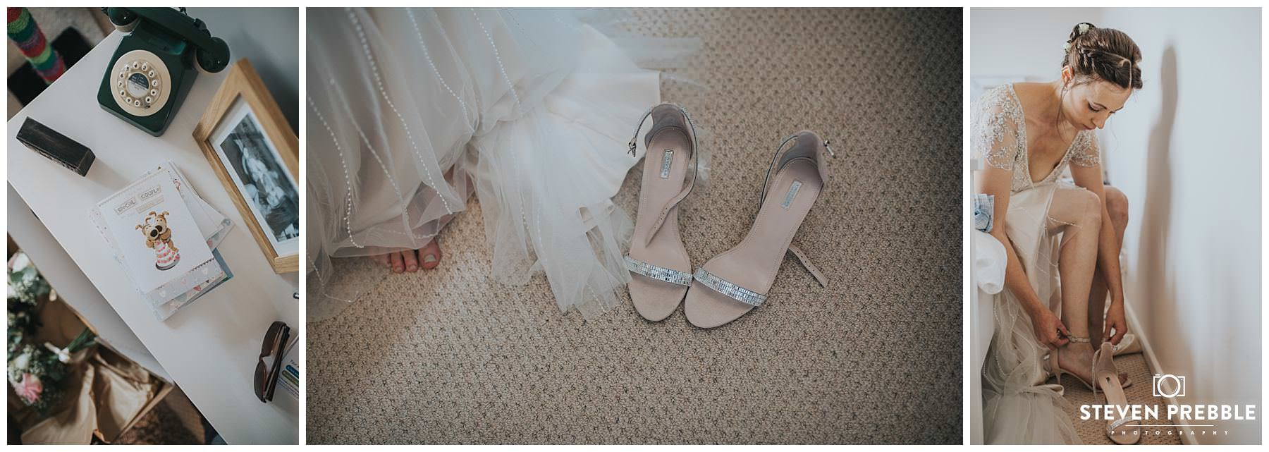 Brides shoes and putting on shoes