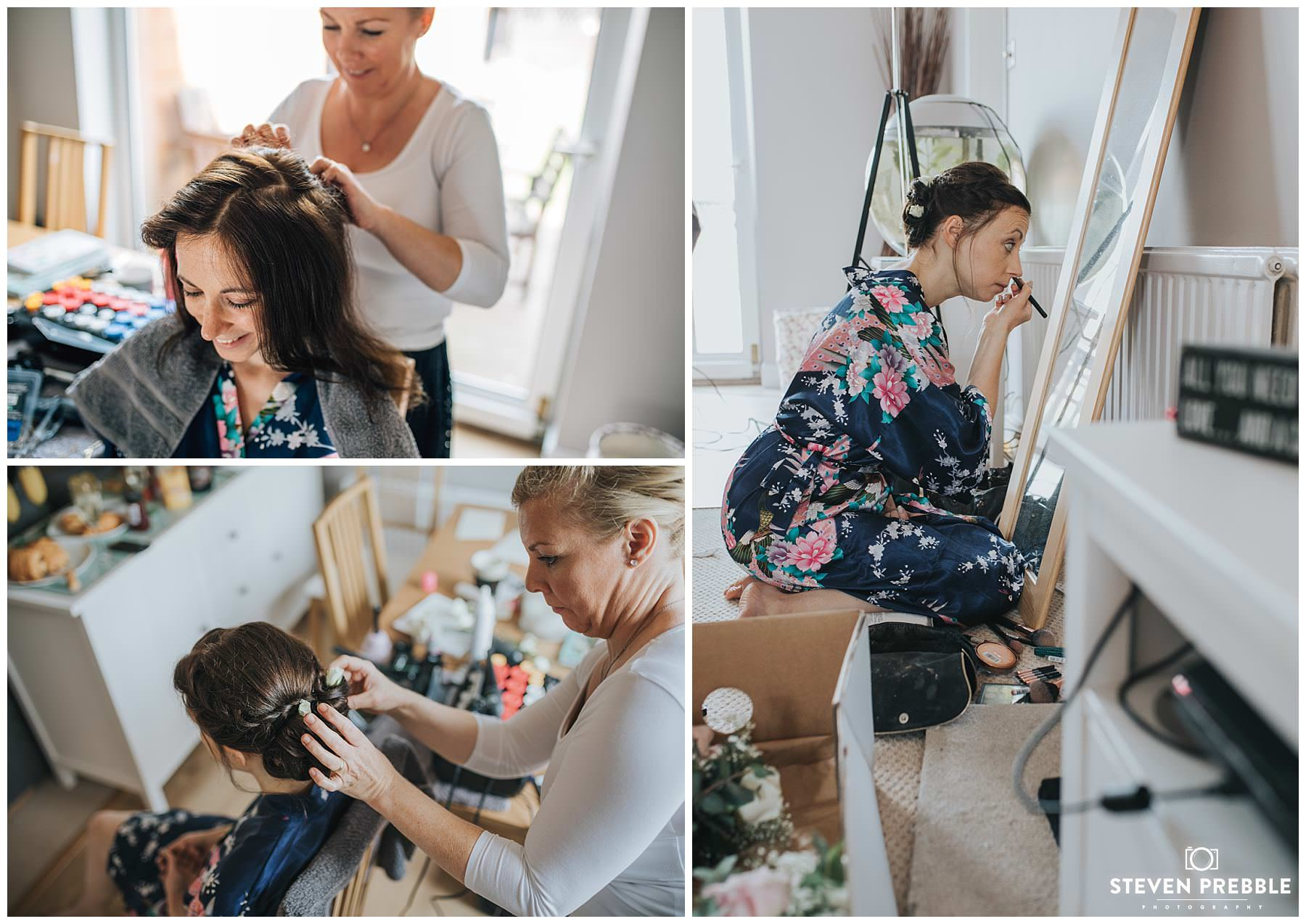 Bride getting hair and make up done
