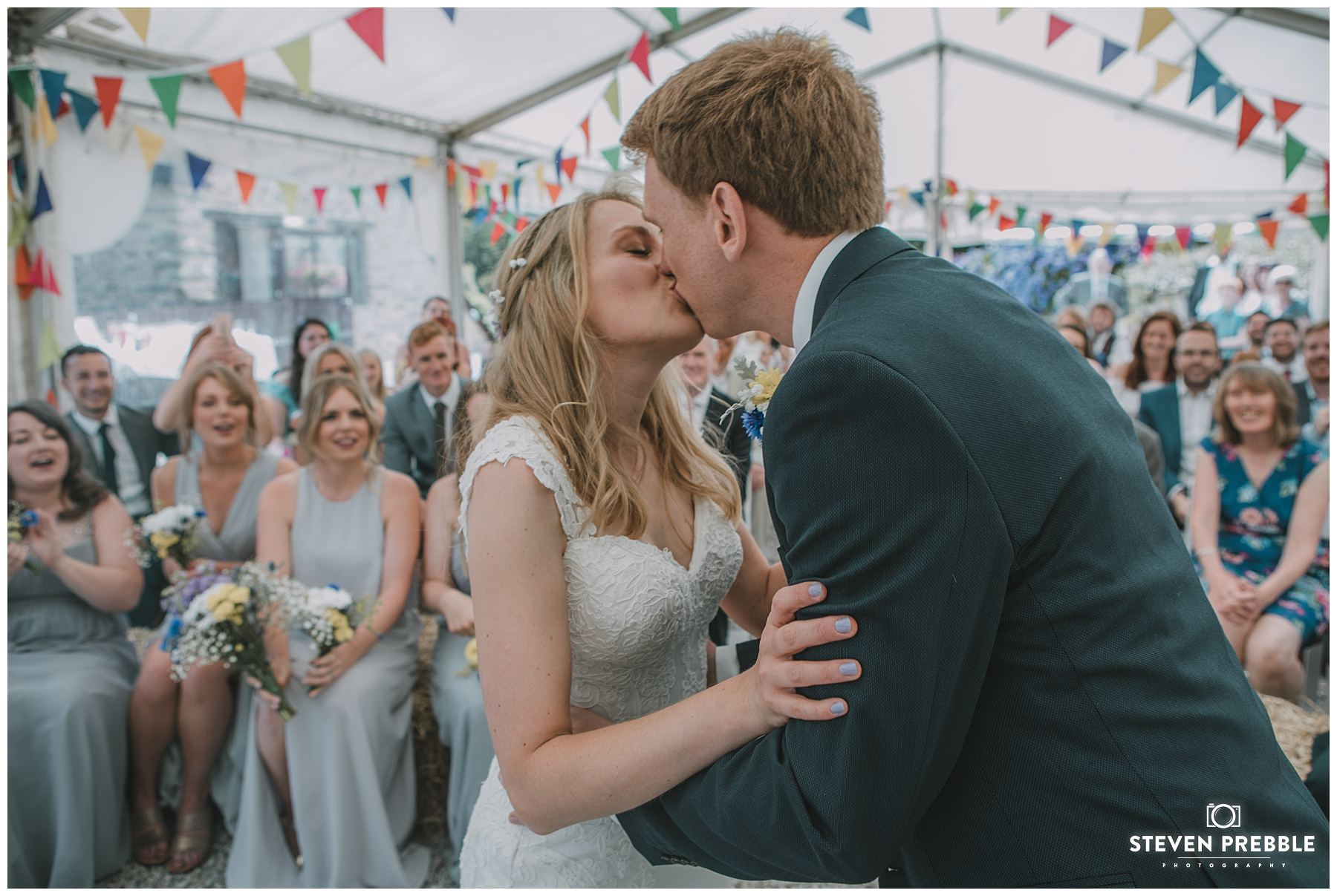 First Kiss Falmouth Wedding Photography Cornwall