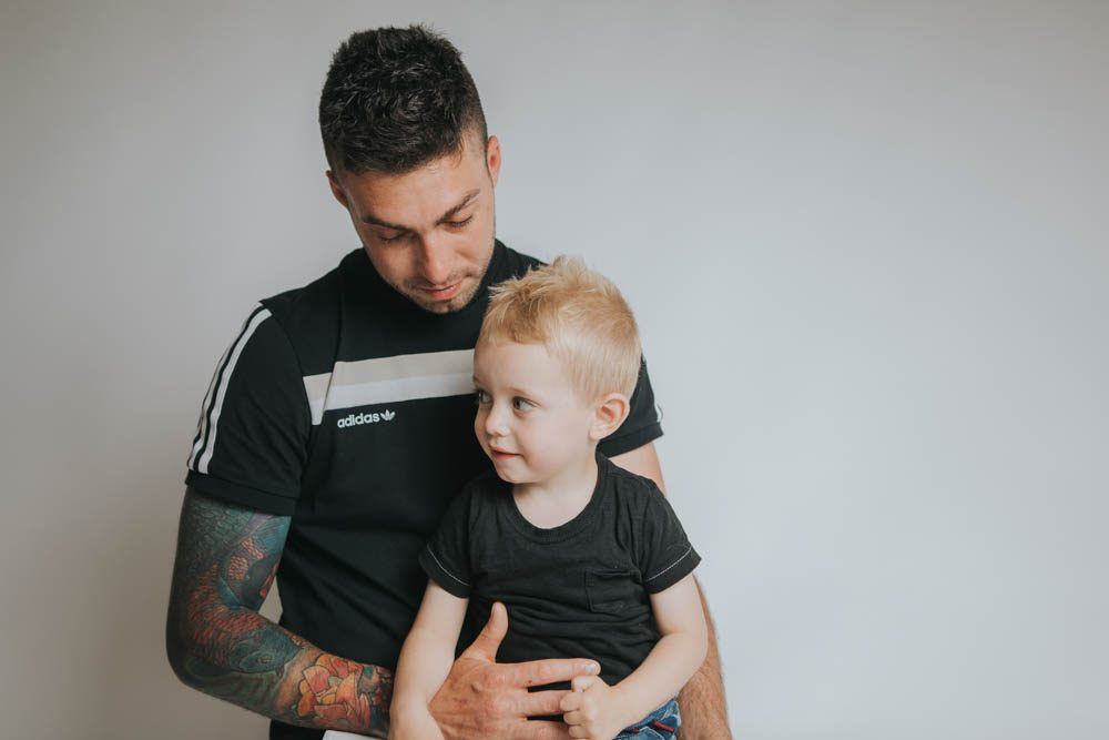 father and son studio photoshoot