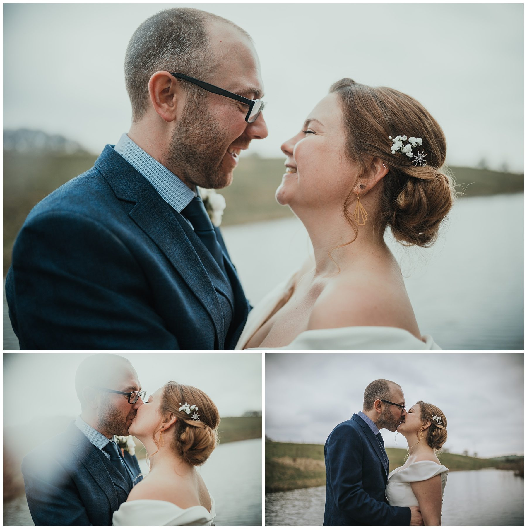 Bride and groom kiss next to a lake