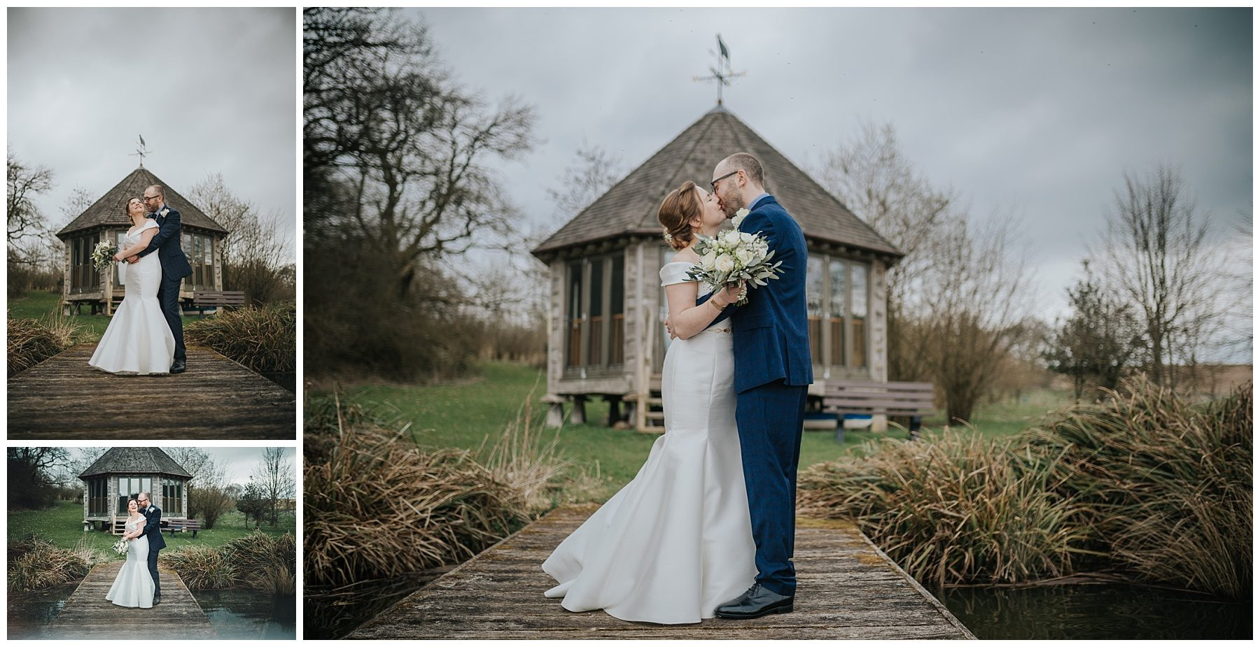 married couple stood by boathouse