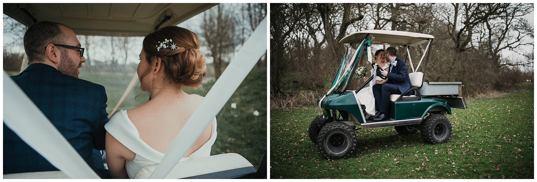 married couple in golf kart or buggy