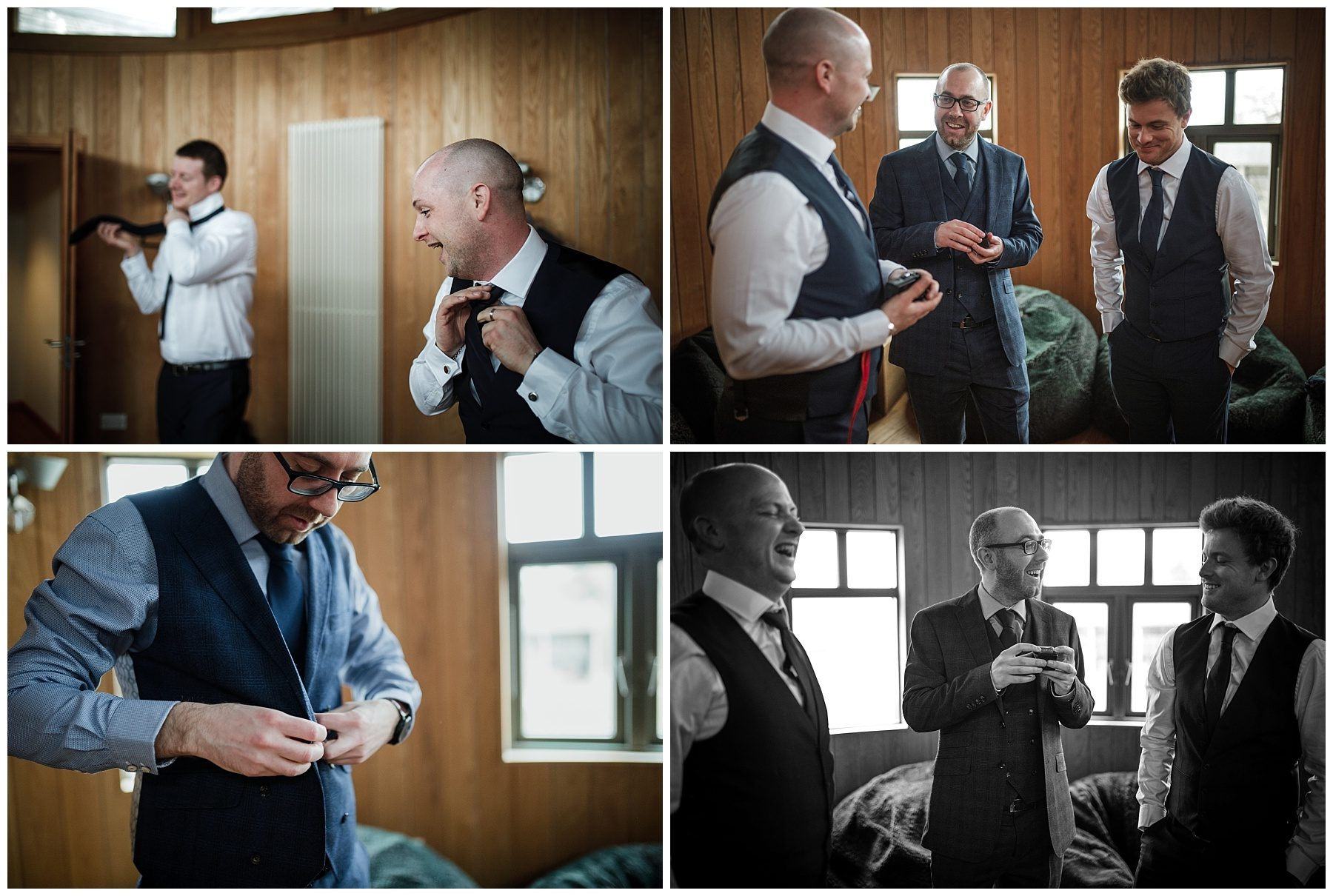 Groom and ushers getting dressed at Sheepdrove Farm