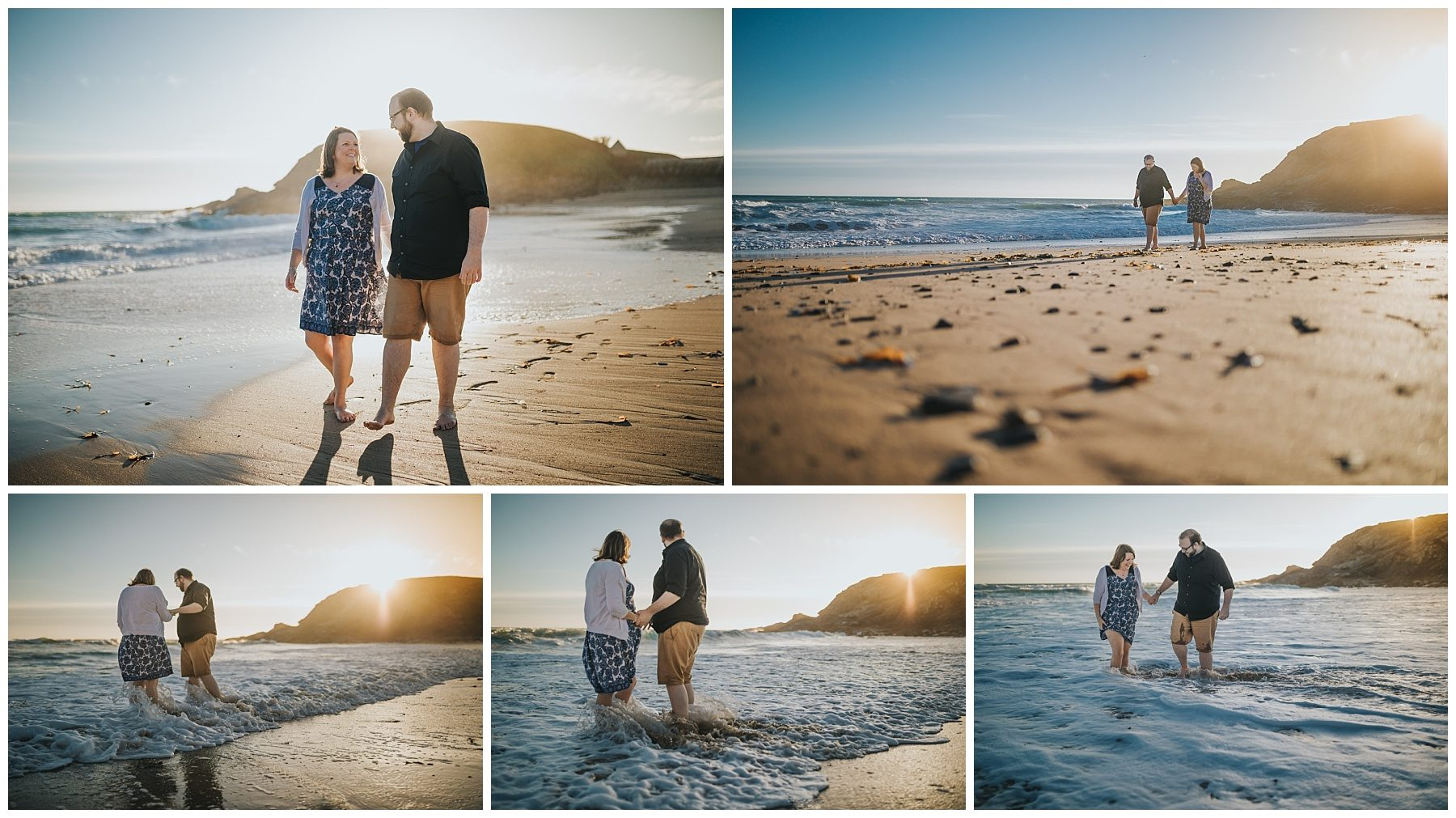 Sunset engagement couple photography in Cornwall