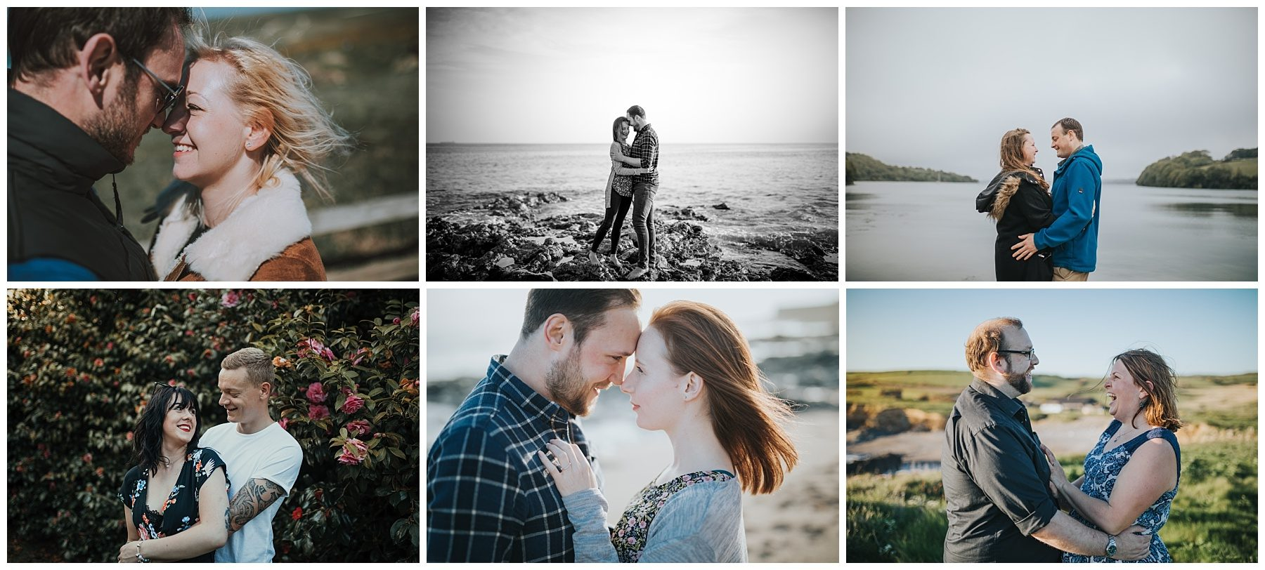 Engagement shoot on beach couple stood on rock on beach in Cornwall