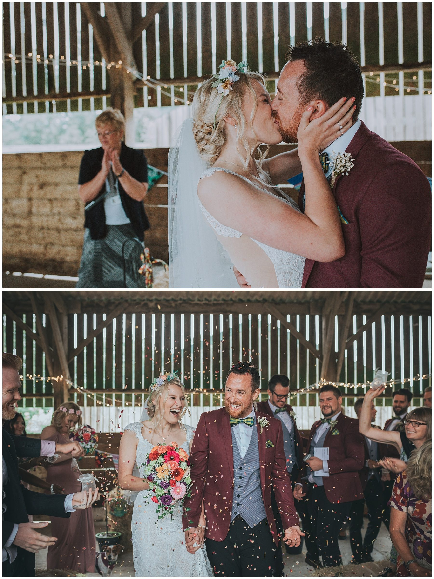 Bride and groom Rustic barn ceremony cornwall