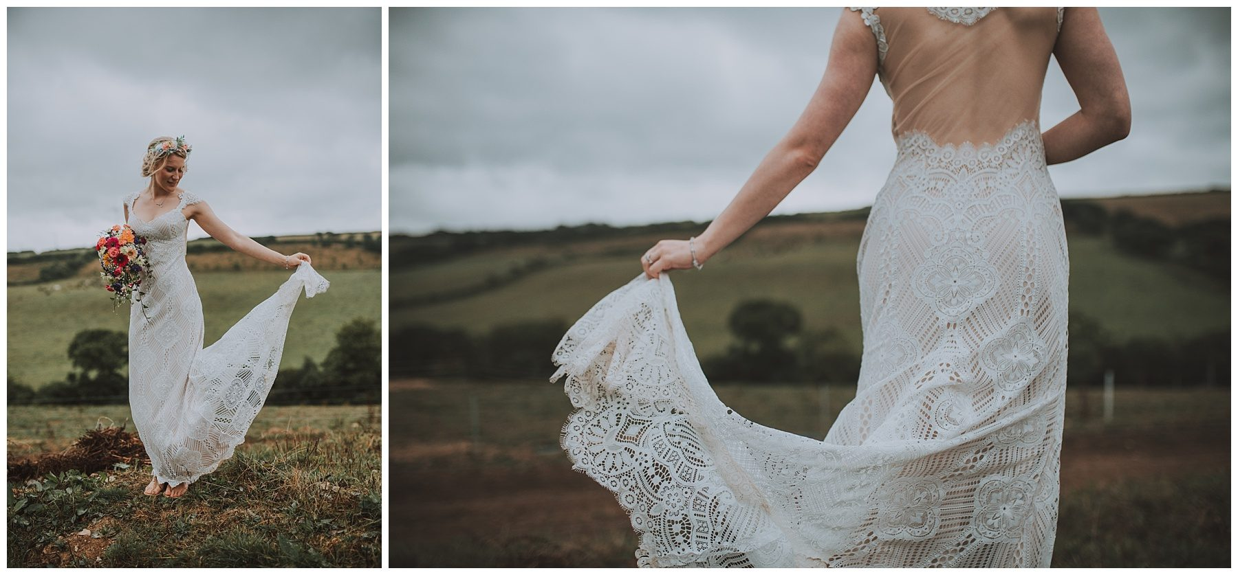 Rustic dress cornwall farm wedding