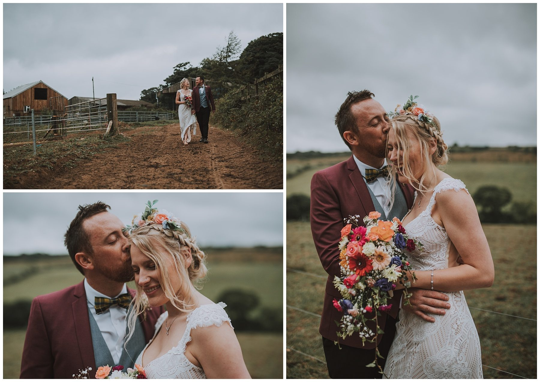 Cornwall wedding couple rustic farm wedding
