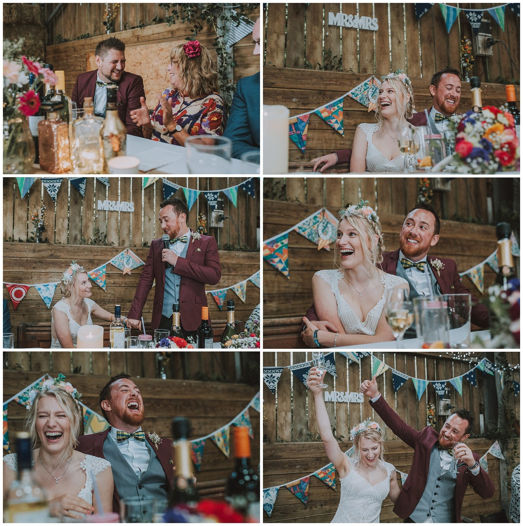 Rustic barn wedding reception speeches cornwall