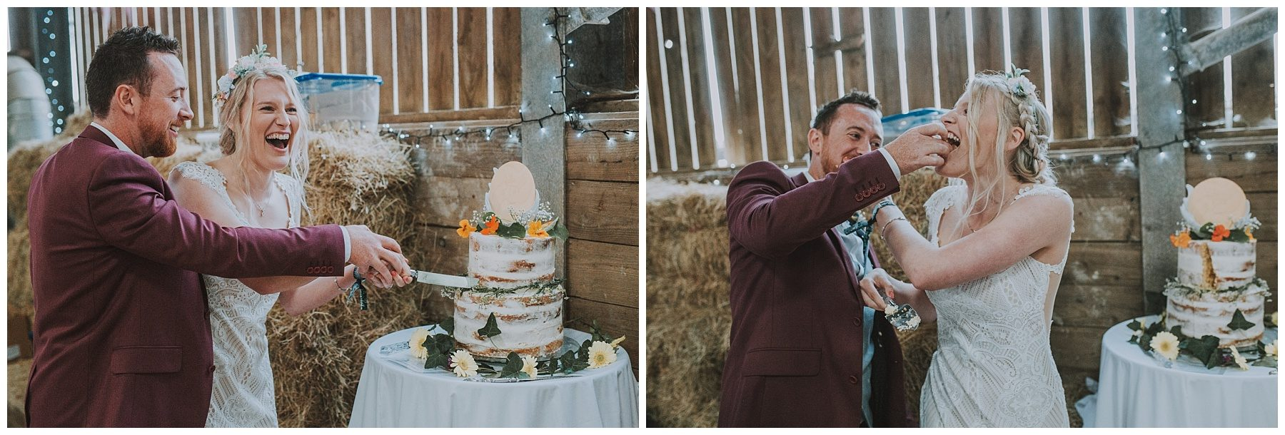 Cornwall rustic barn wedding cake cutting
