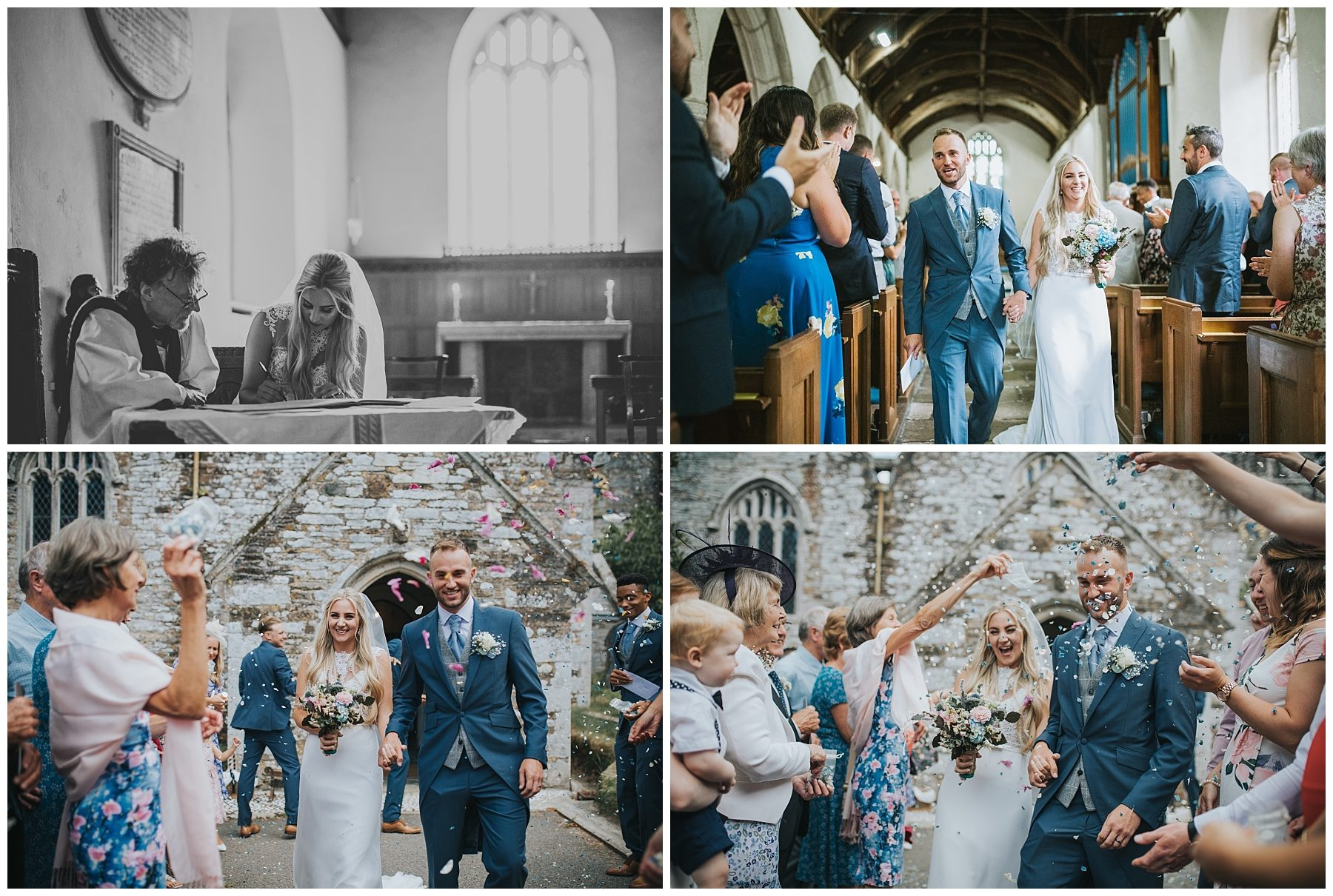 Cornwall church wedding confetti