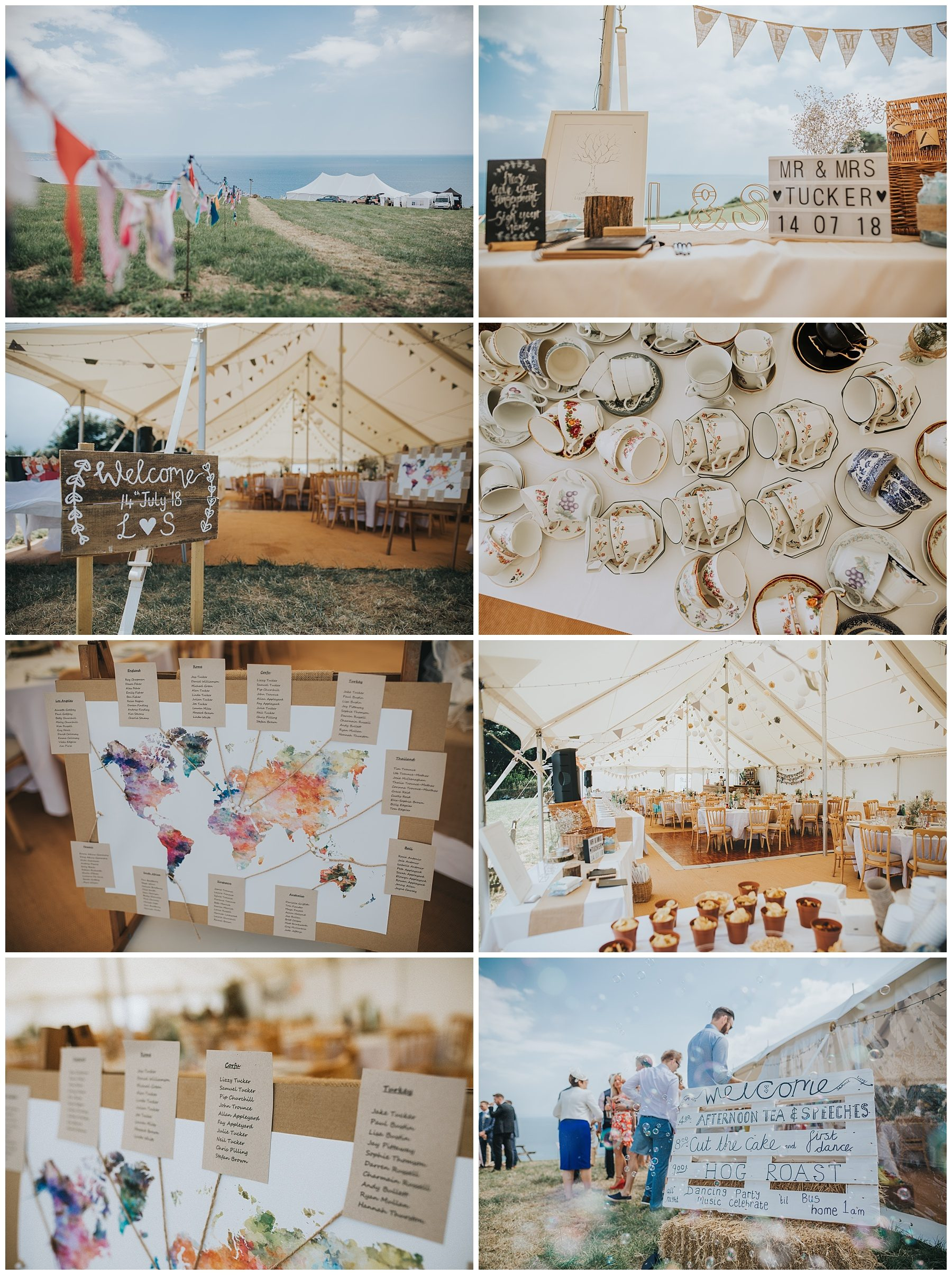 Cornwall wedding marquee details