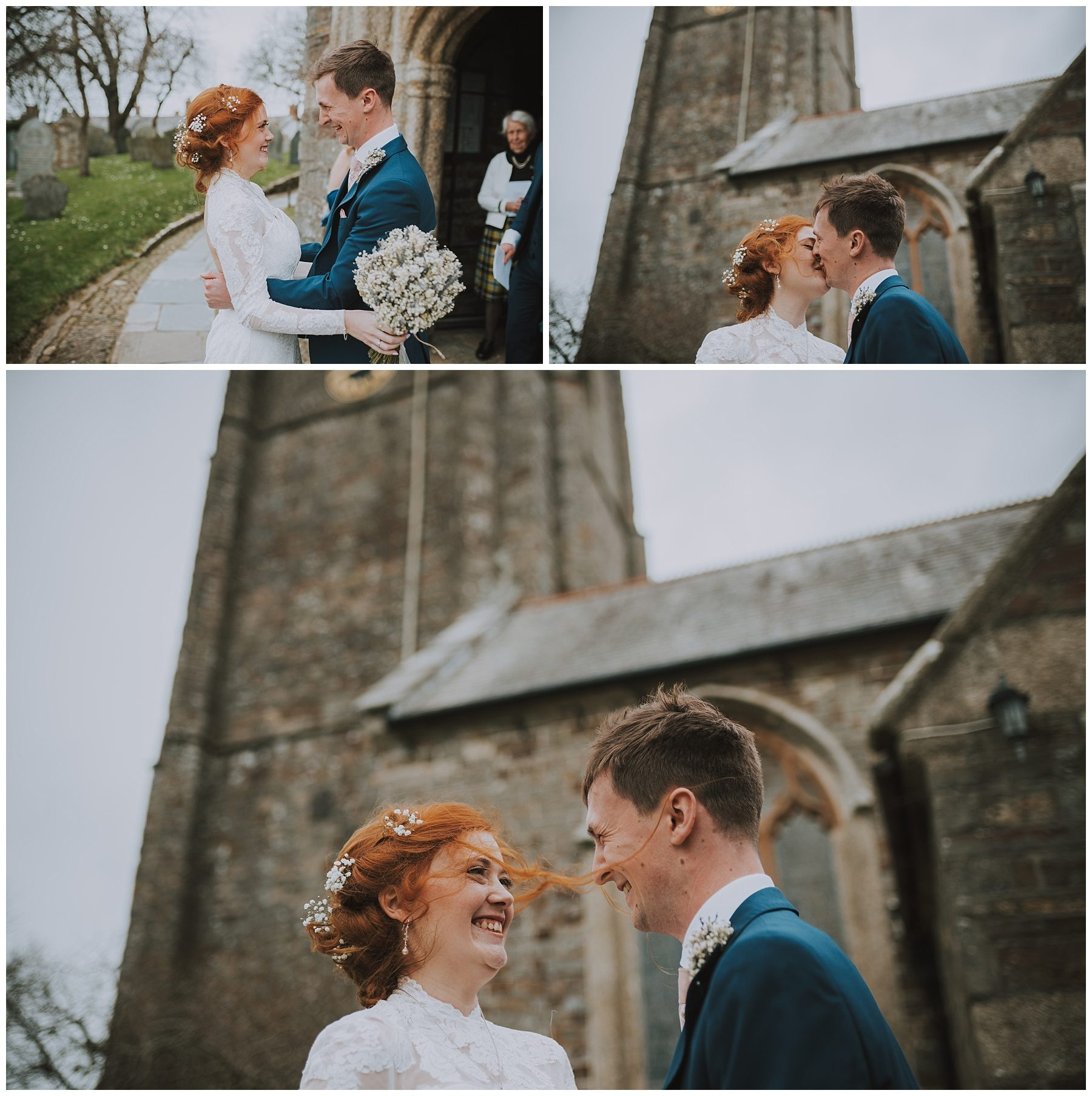 Bride and groom kiss outside church photography