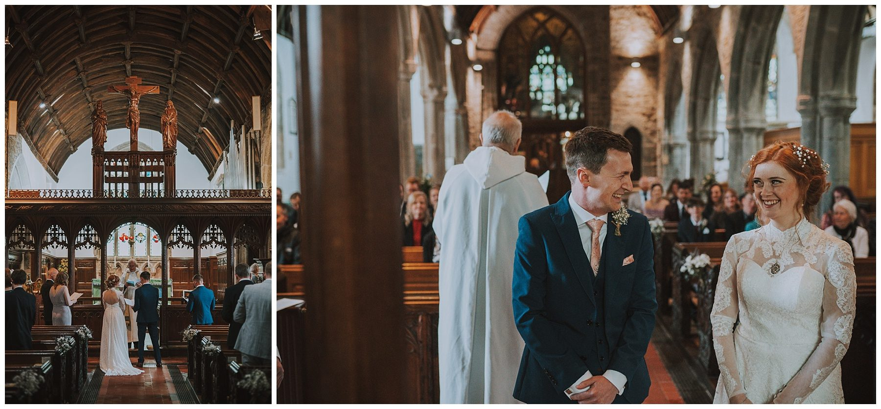 Bride and groom in cornwall church