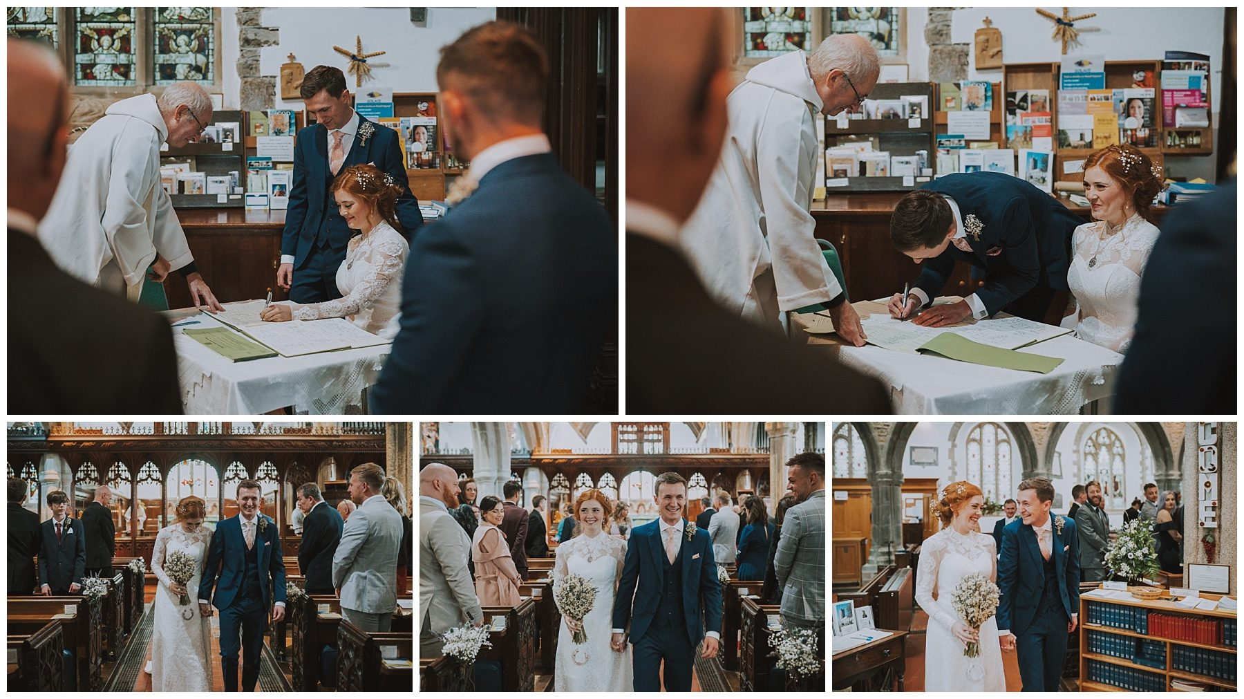 Bride and groom signing register photography