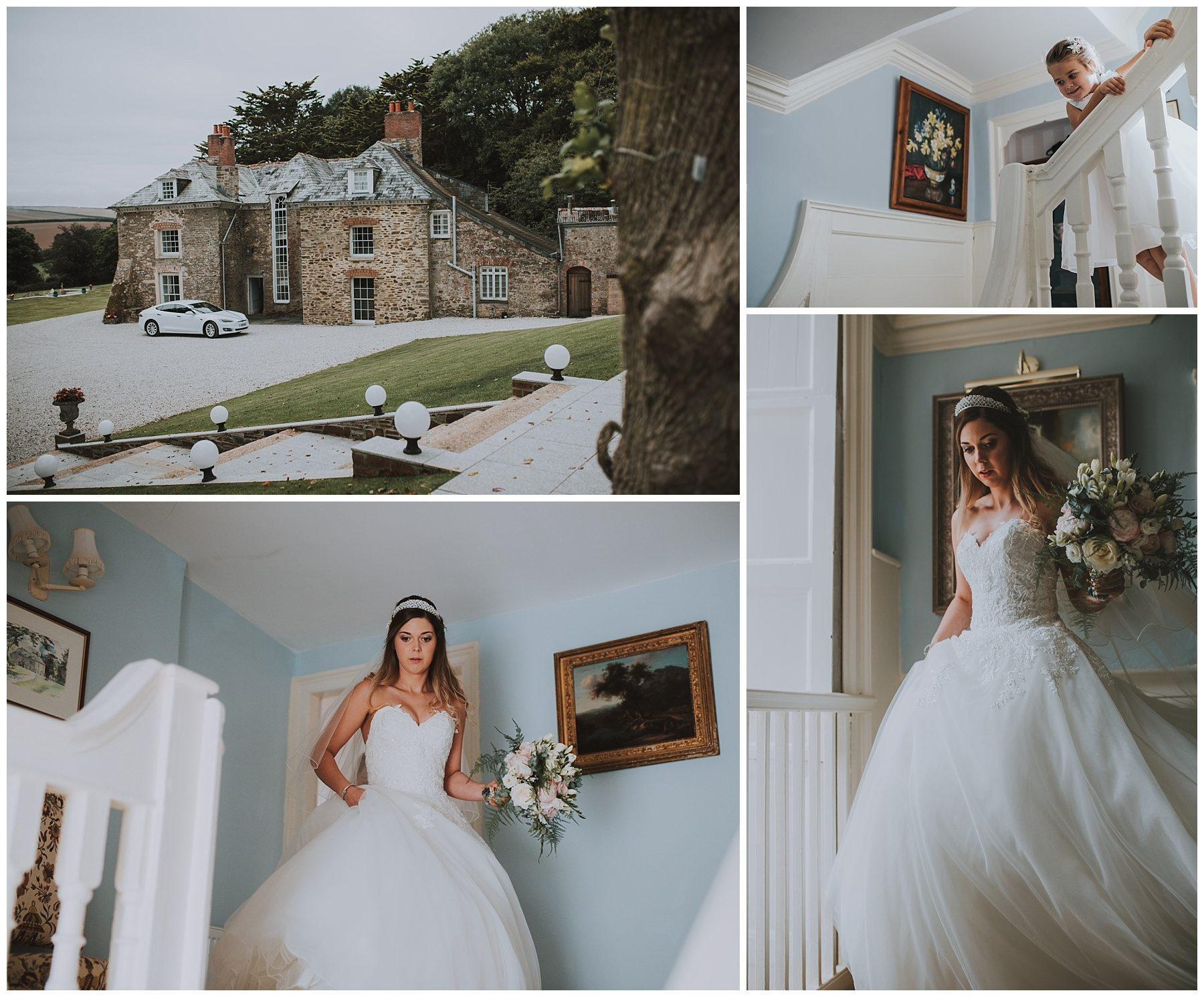 Cornwall wedding photography bride walking down stairs
