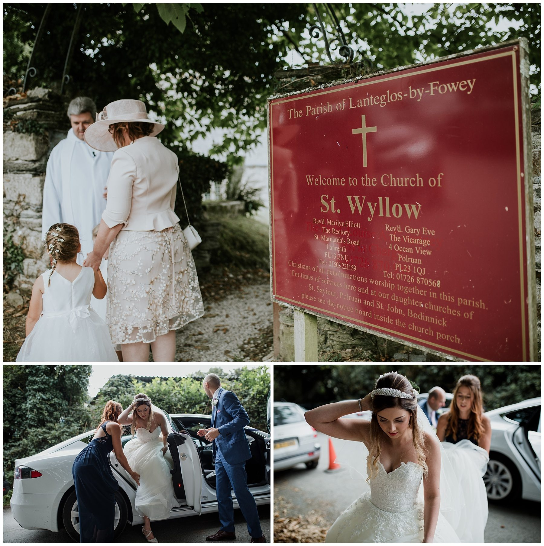 Cornwall wedding photography bride arriving at church