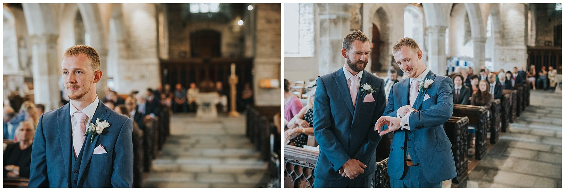 Cornwall wedding photography groom stood at alter waiting for bride