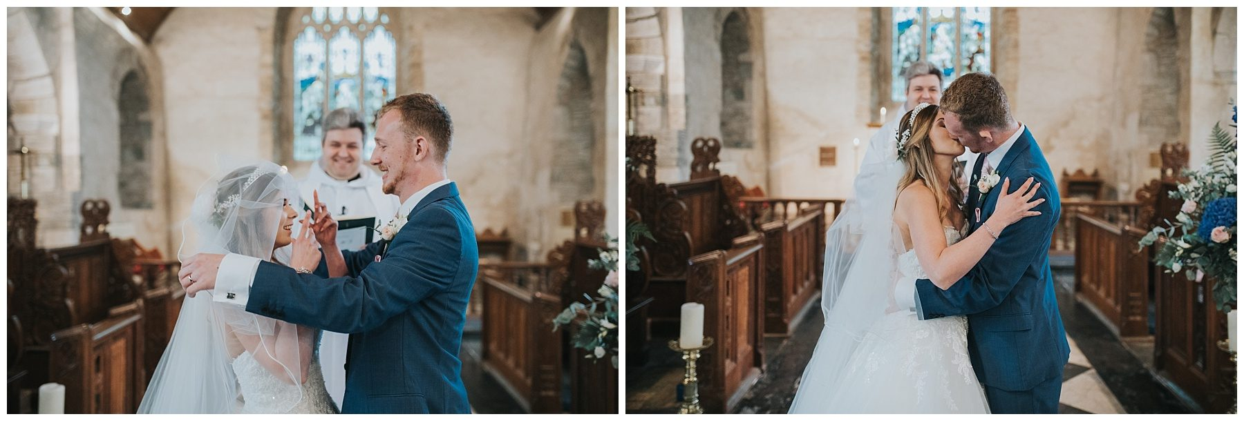 Cornwall wedding photography bride and groom first kiss