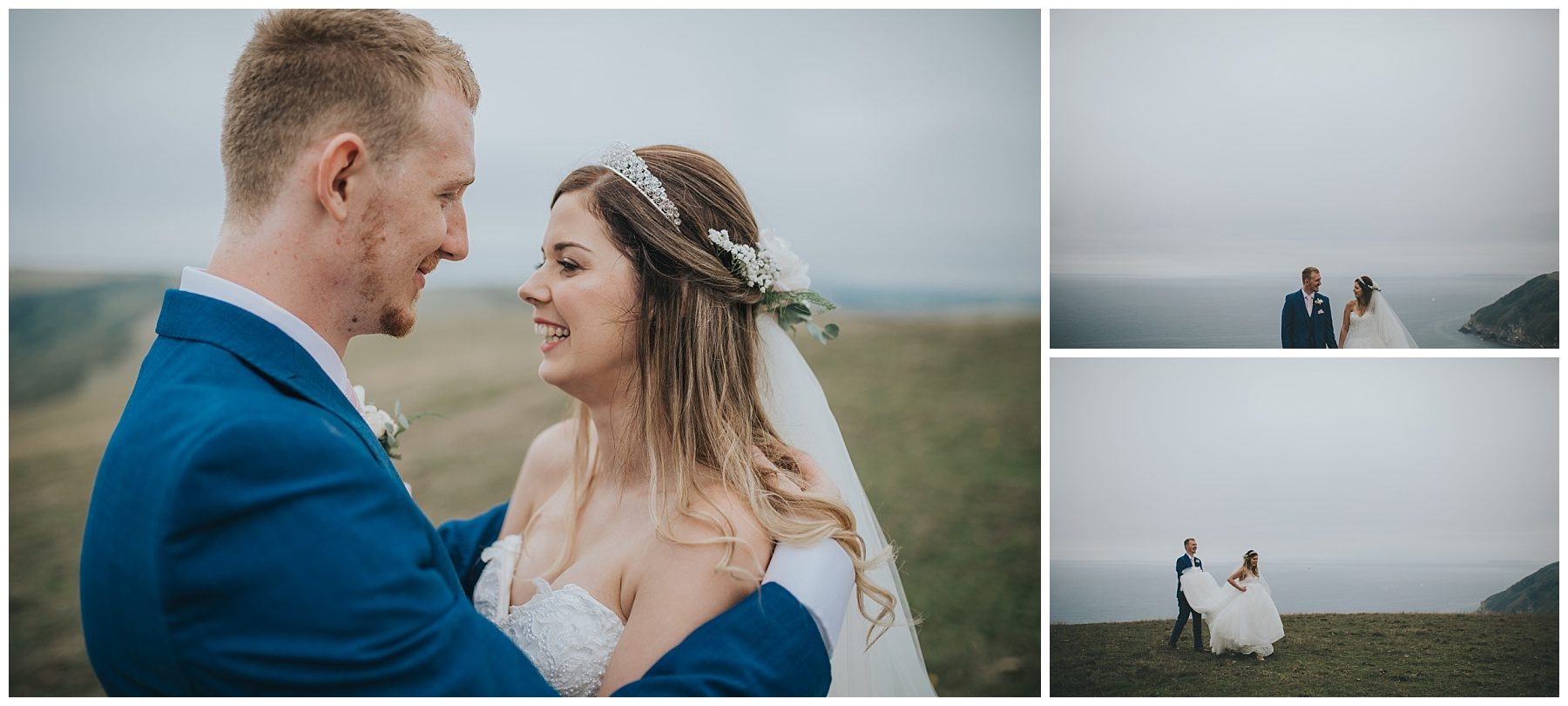 Cornwall wedding photography wedding couple on cliffs