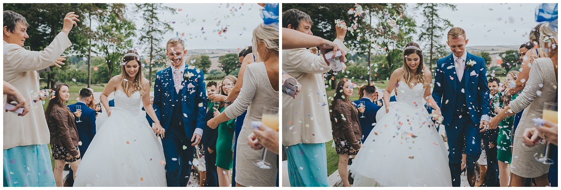 Cornwall wedding photography wedding confetti photo
