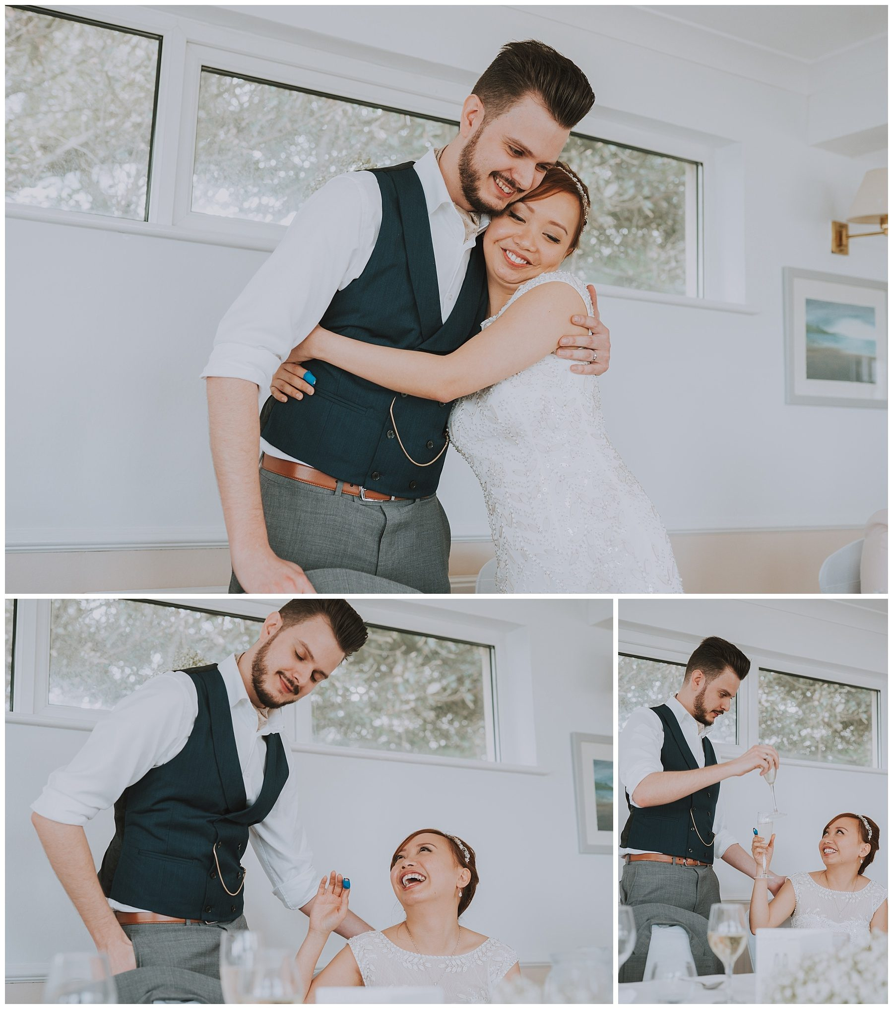 Wedding couple embrace falmouth cornwall photography
