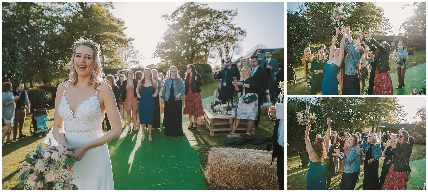 Bouquet toss cornwall wedding photographer