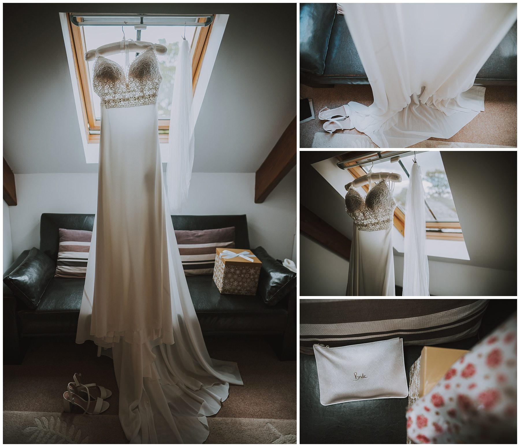 Wedding Dress Hung up Ta Mill Cornwall Wedding Photographer