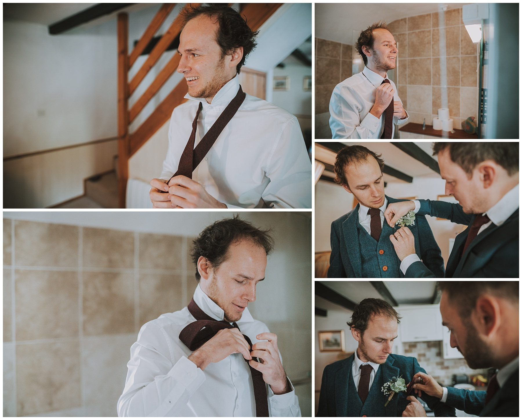 Groom preparation Ta Mill Cornwall Wedding Photographer