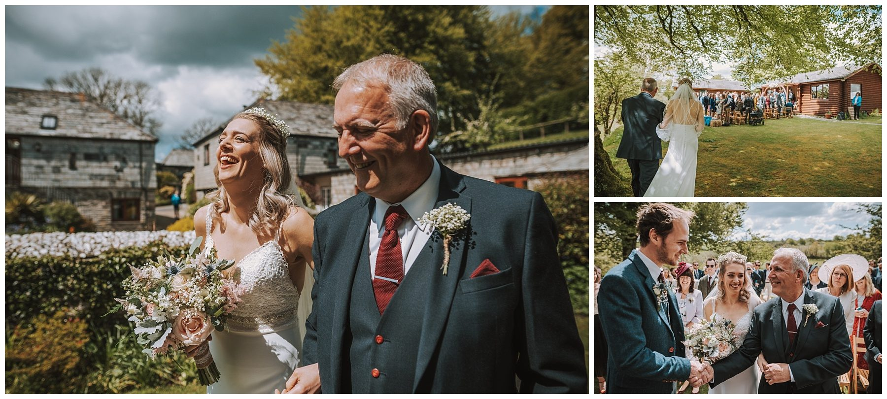 Bride and father walking wedding cornwall photographer