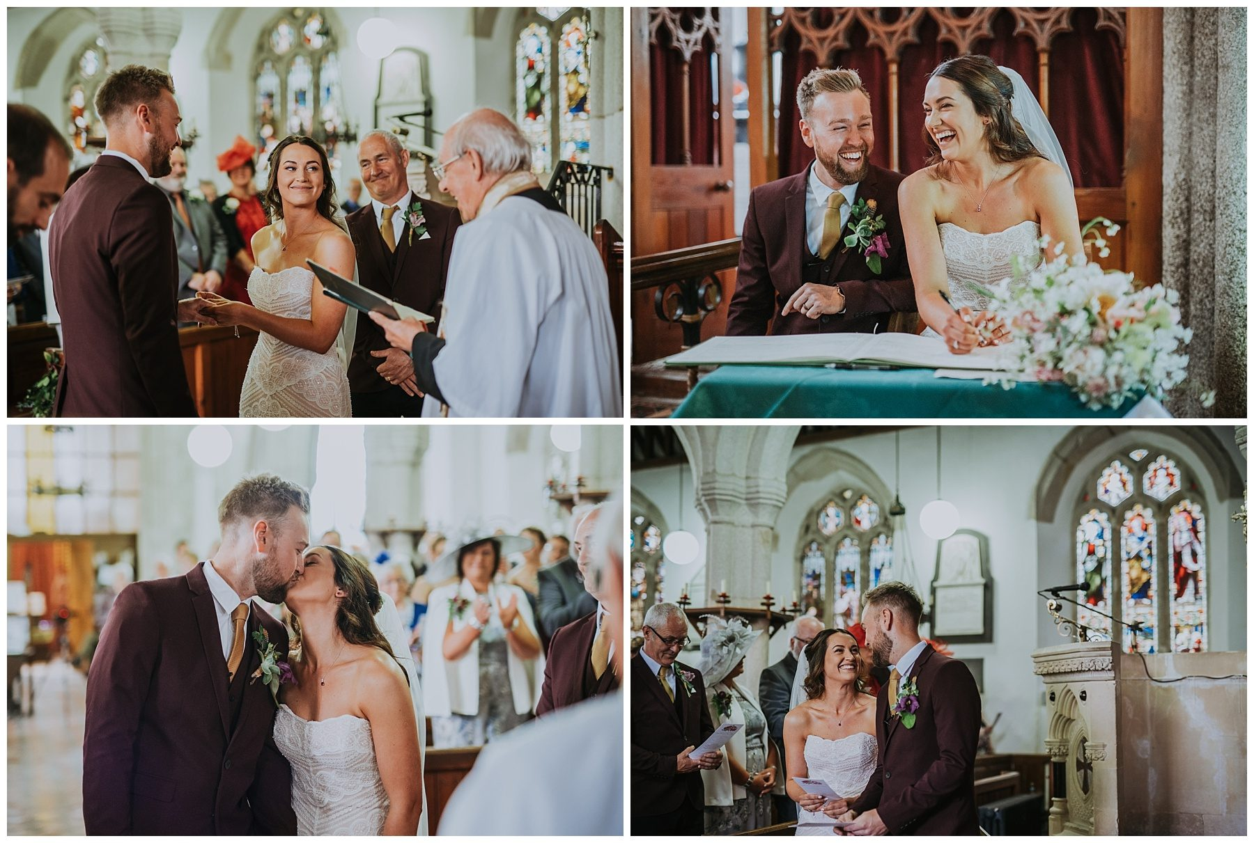 Cornwall church wedding photographer first kiss