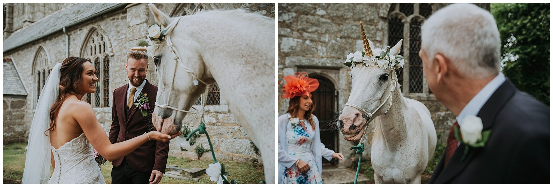 Cornwall wedding photographer unicorn at wedding