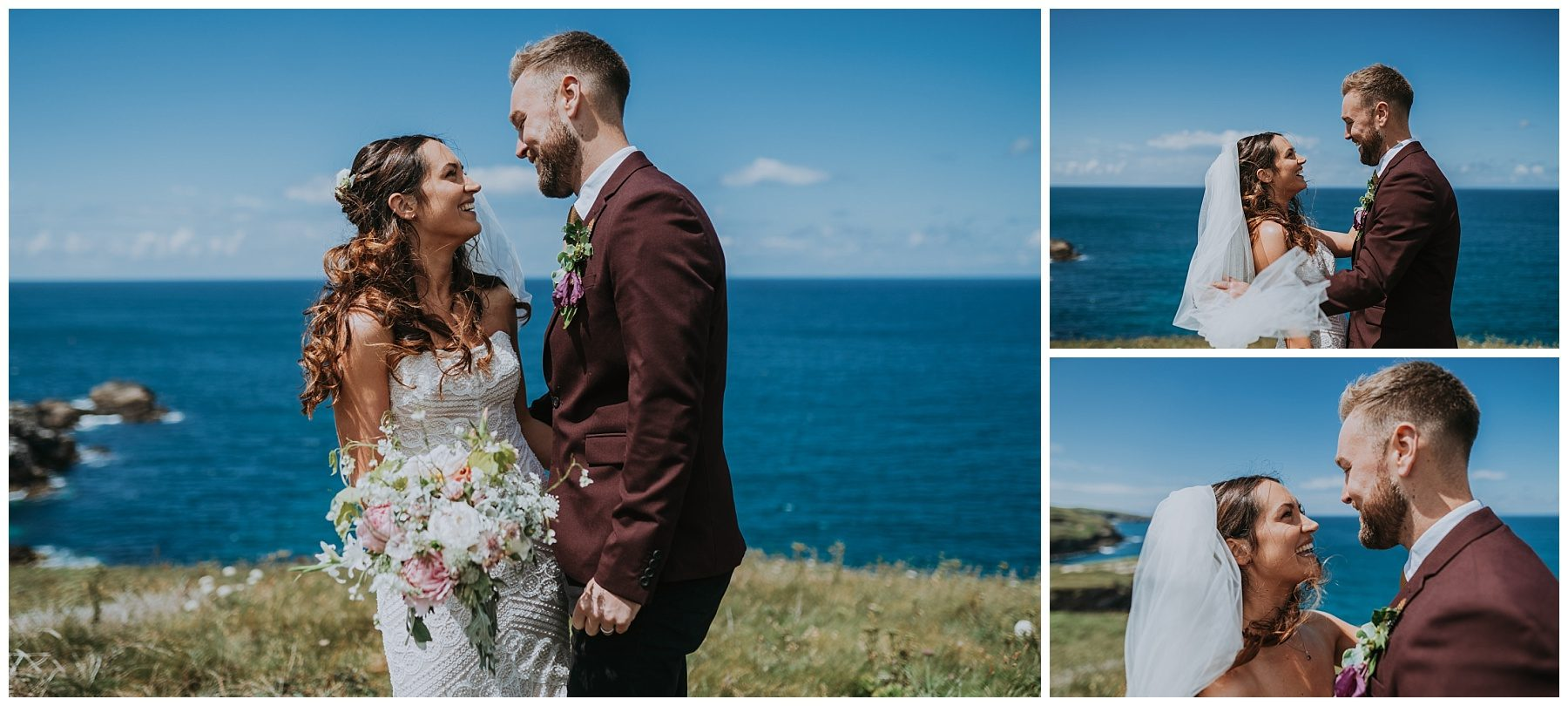 Bride and Groom wedding photography Cornwall on cliffs