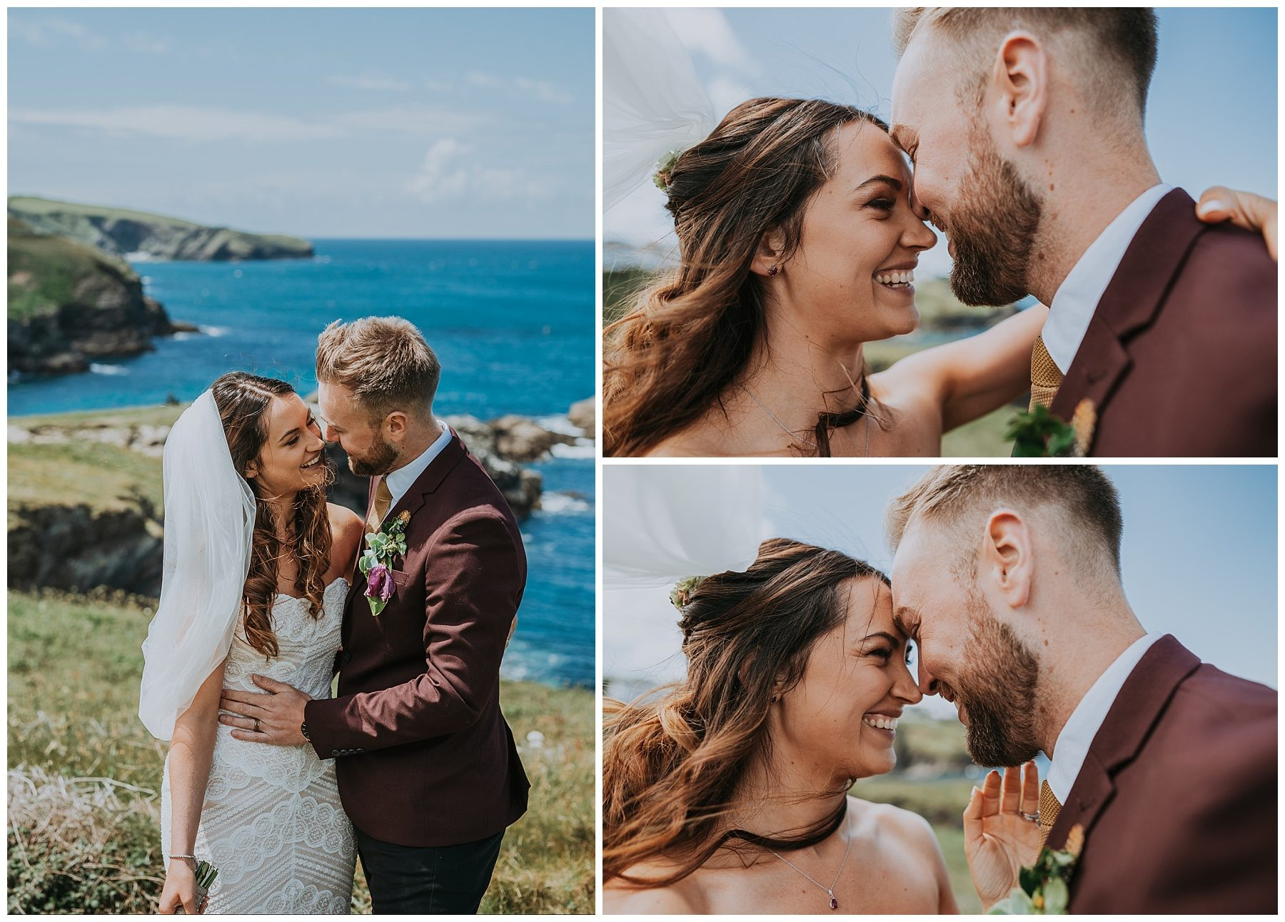 Cornwall wedding couple cliff beach photography