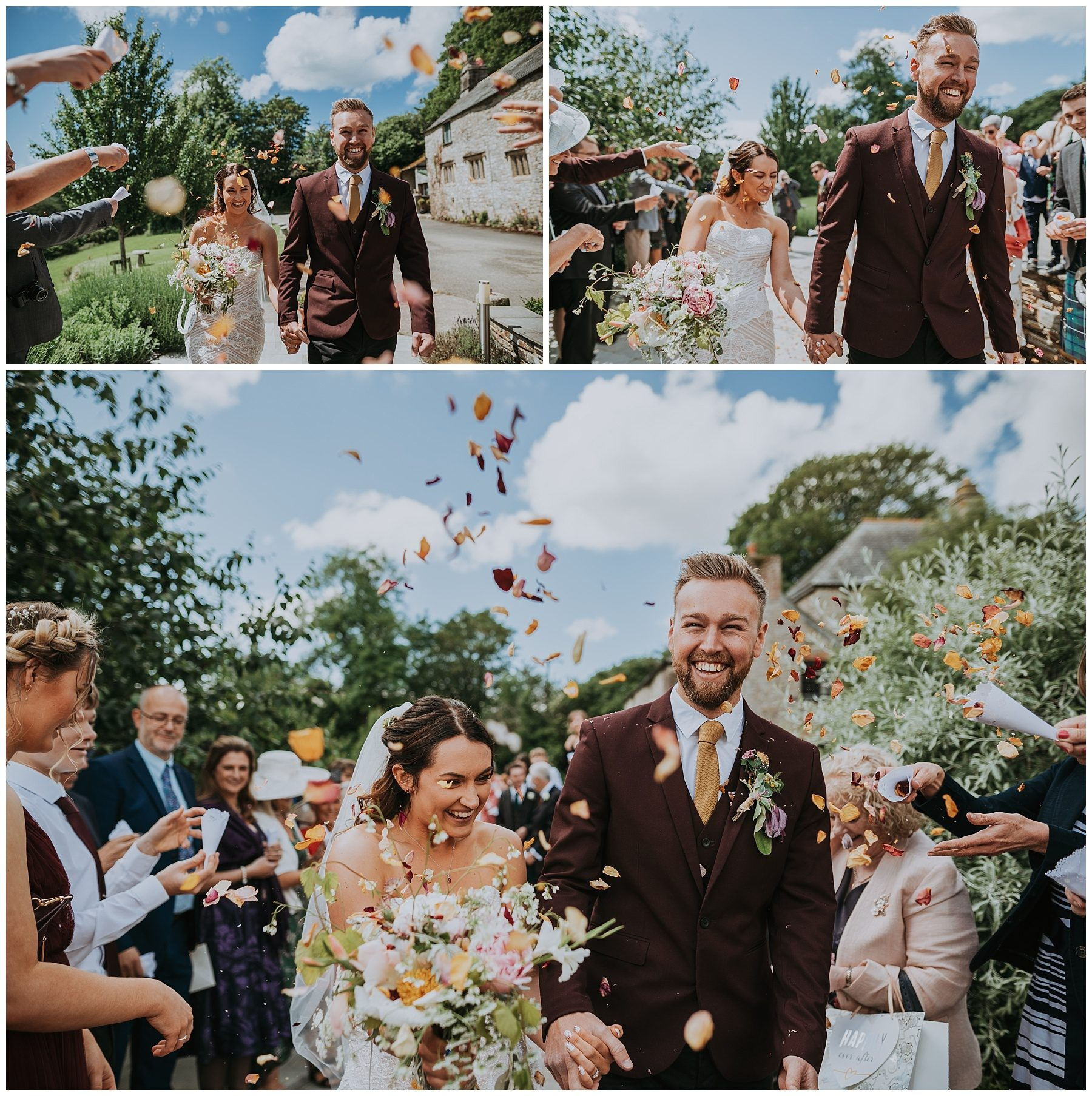 Pengenna Manor cornwall wedding confetti shot photography