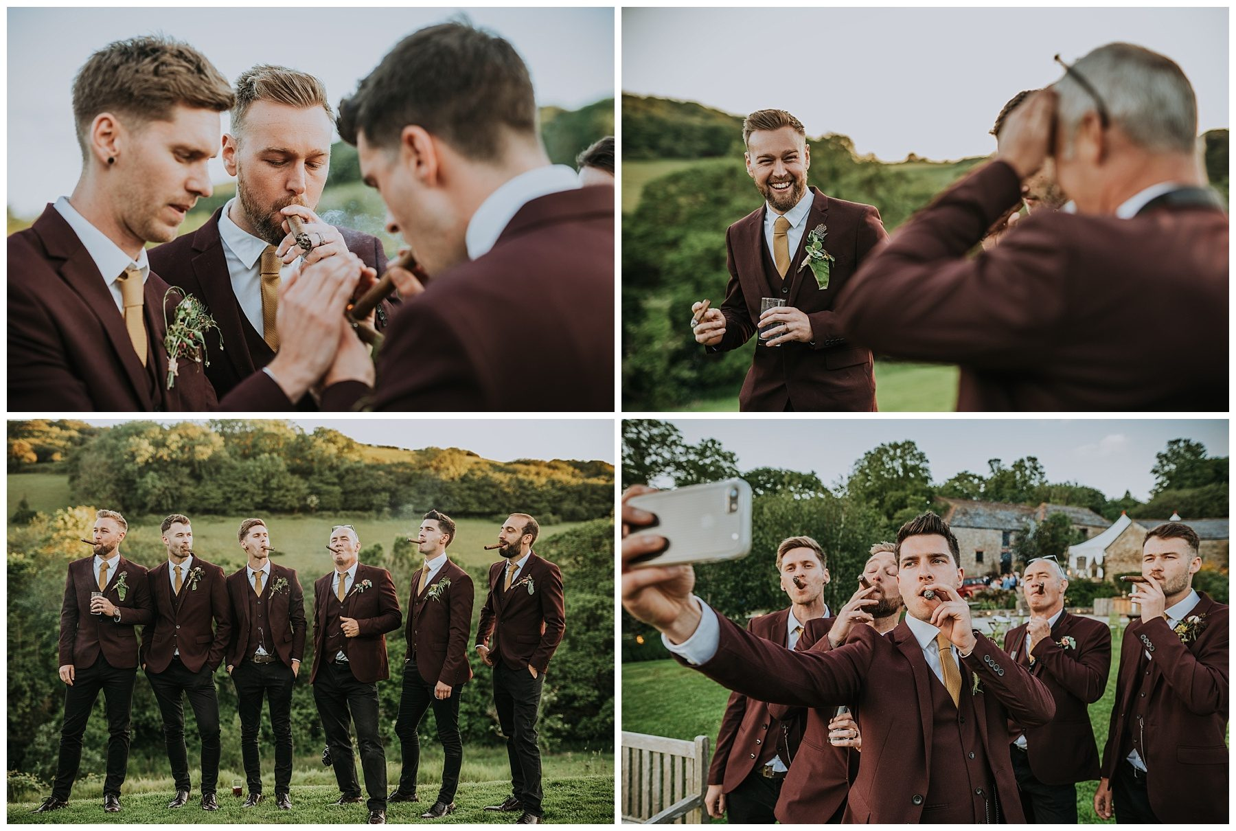 Pengenna manor cornwall wedding venue groom cigar photographer
