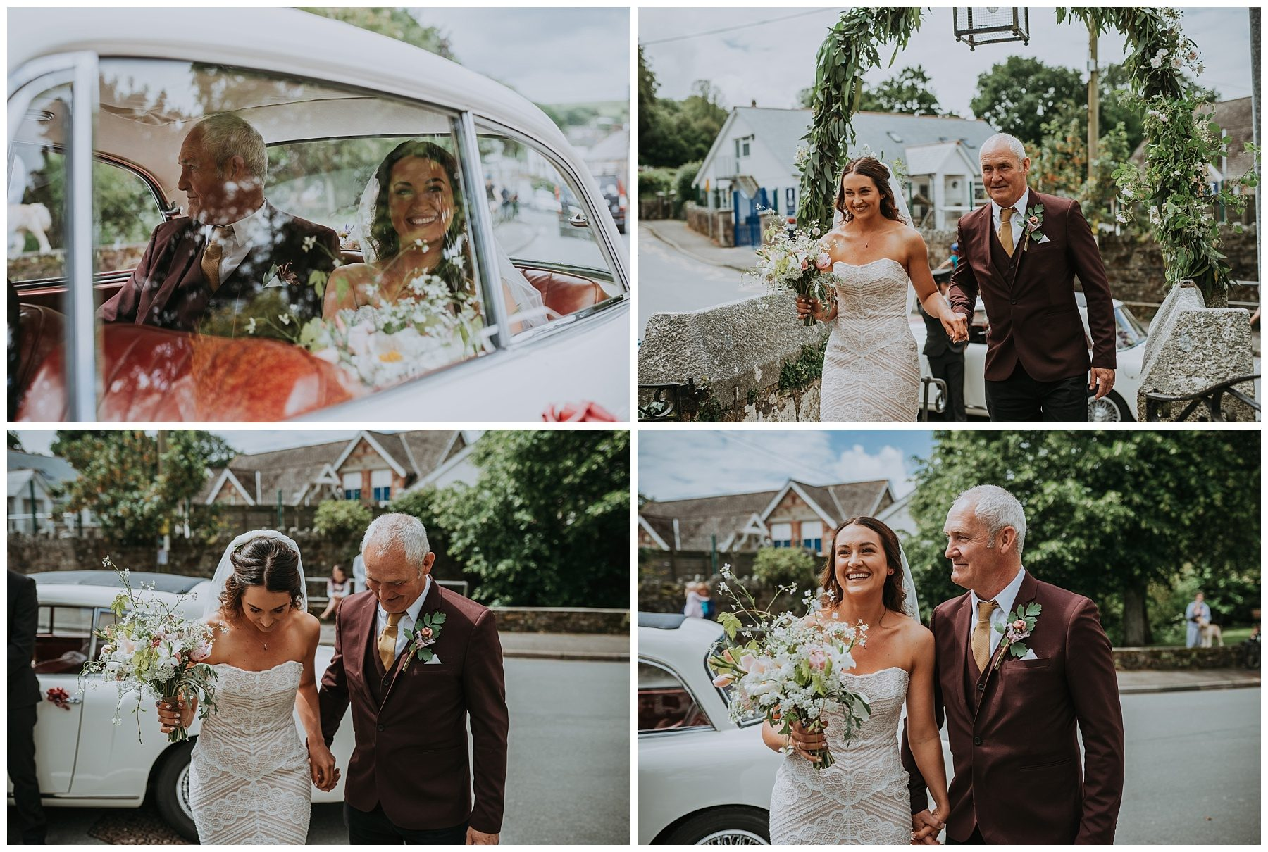 Bride arriving at church in cornwall photography