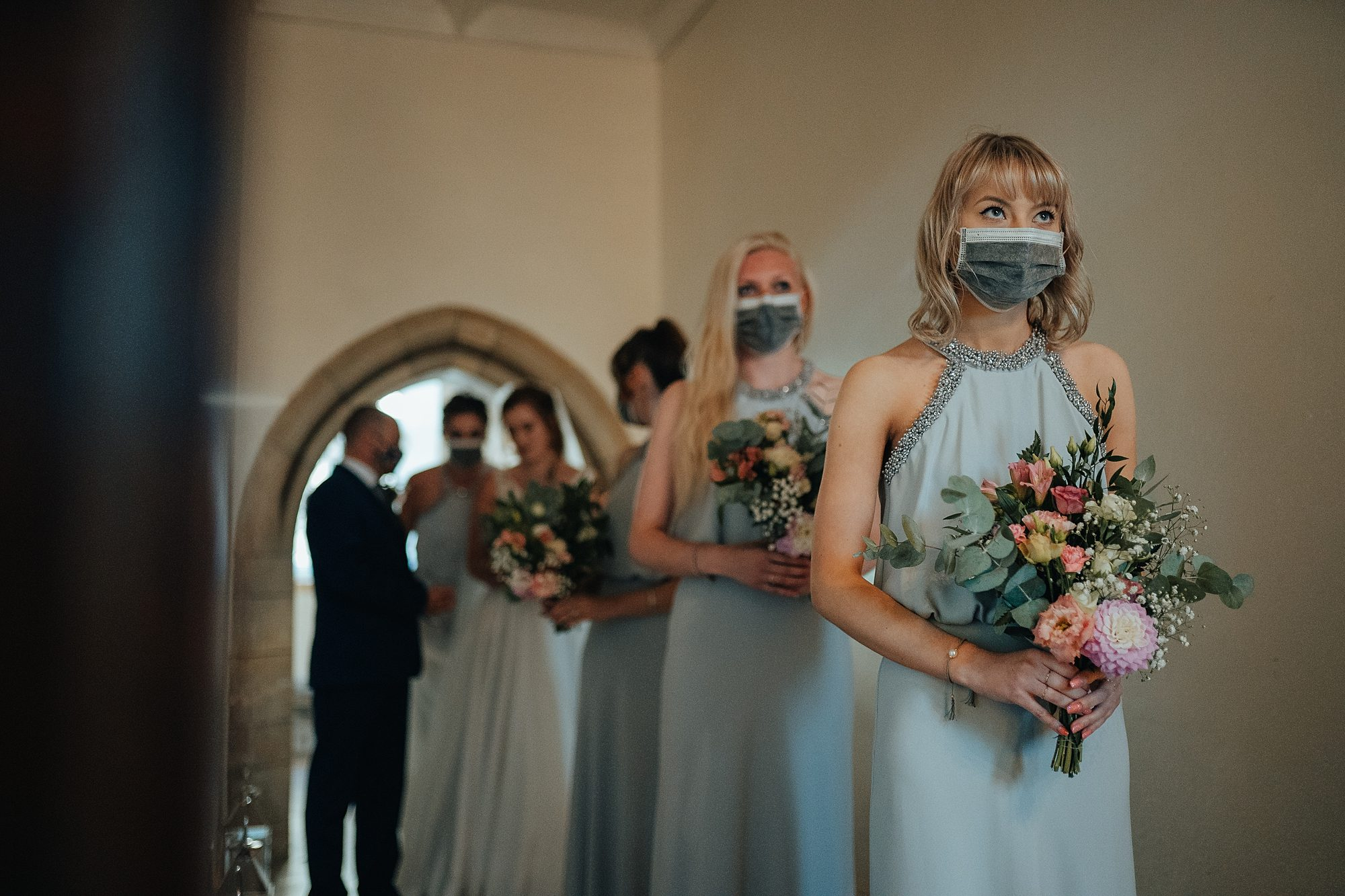 Wedding bride maids face mask covid