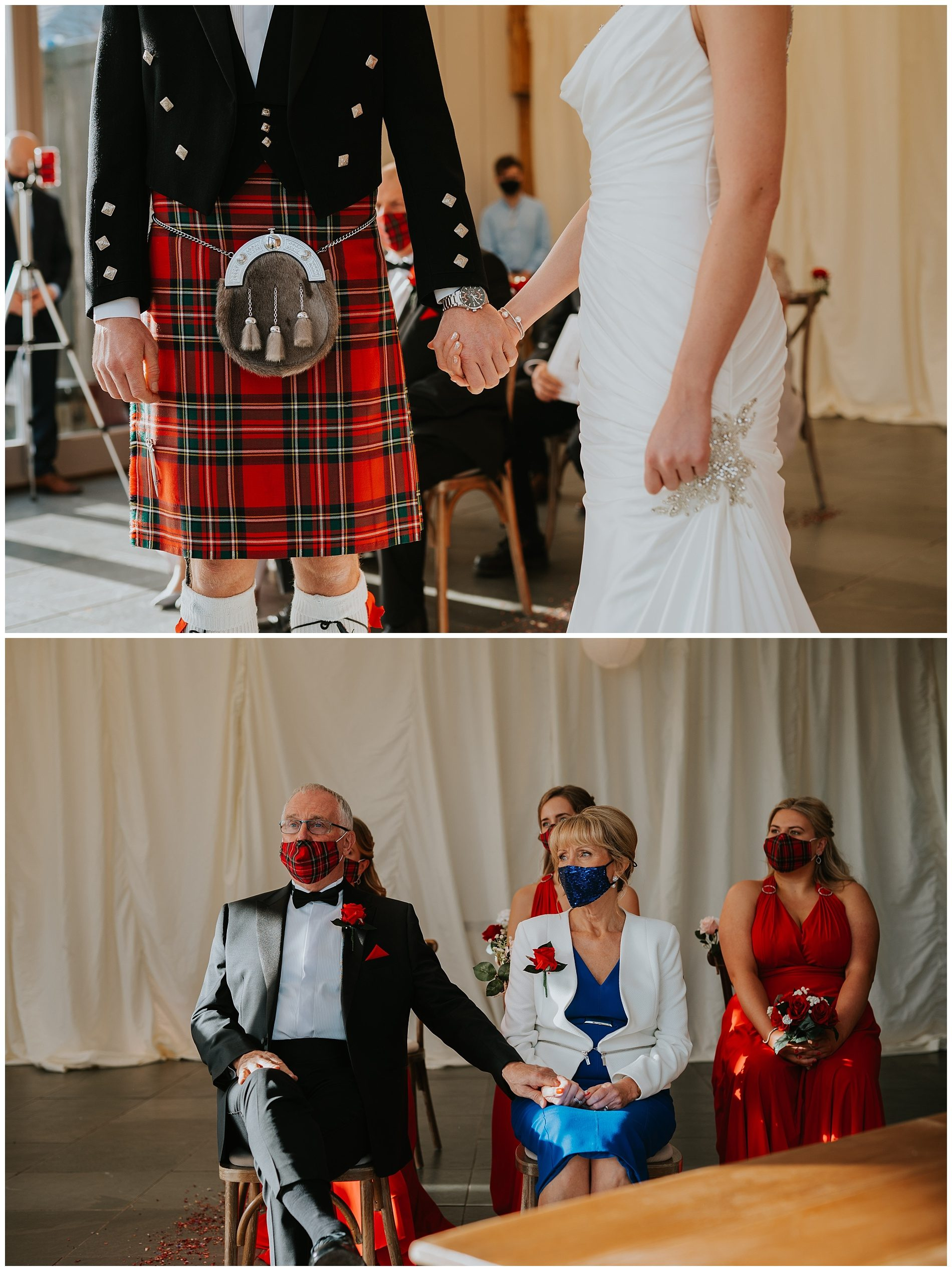 Groom wearing tartan holding brides hand. Mother and father of bride holding hands