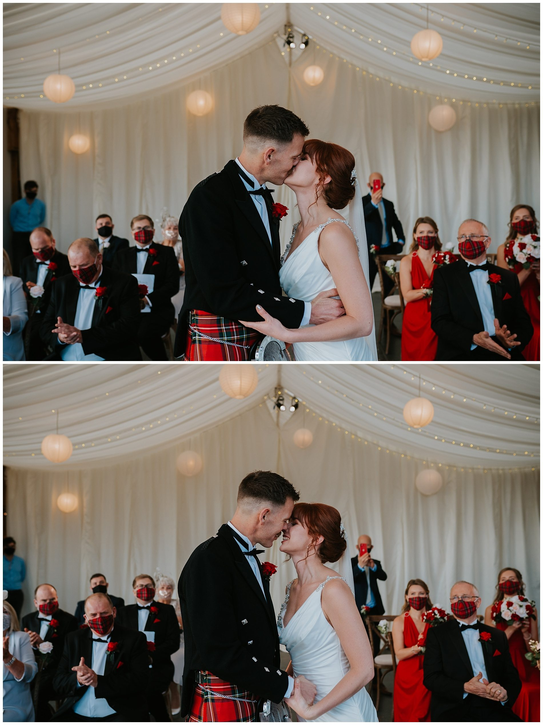 Bride and Groom first kiss indoor ceremony