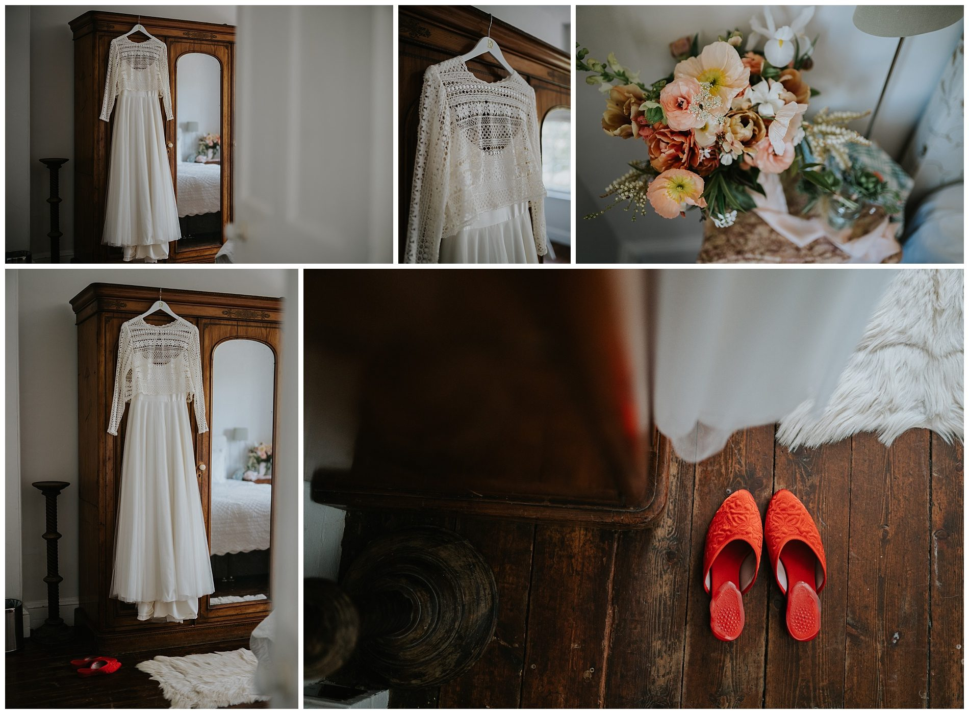 Bridal gown and red shoes