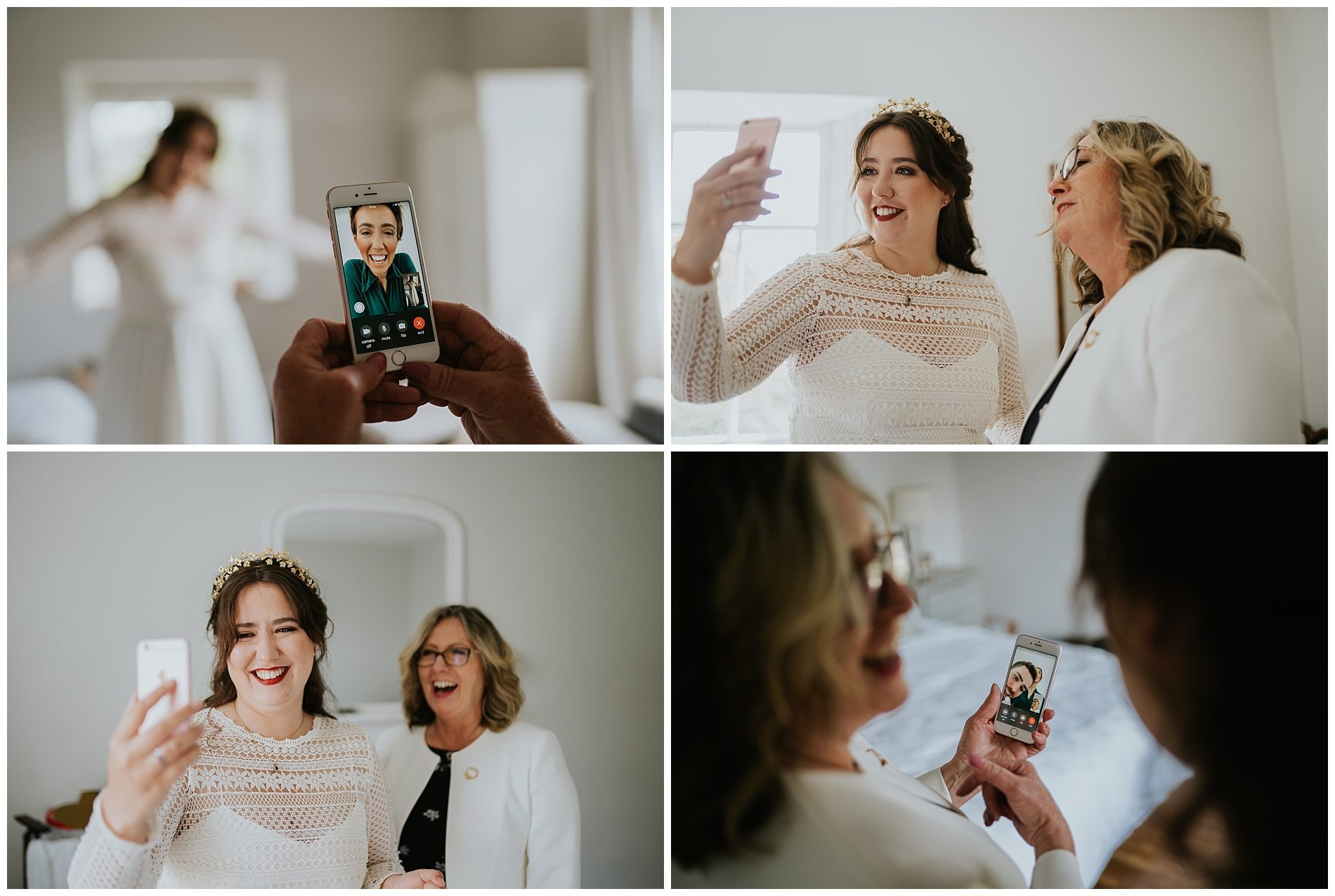 Bride face time elopement Cornwall wedding photography